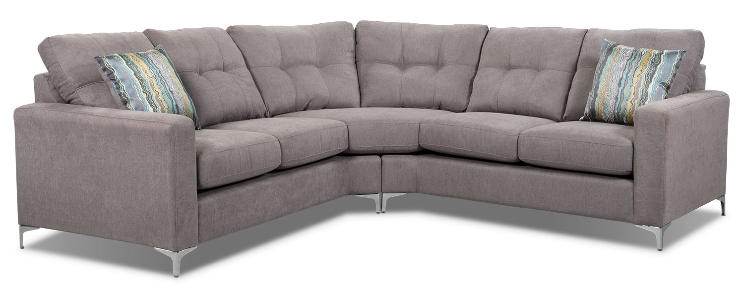 London 2-Piece Linen-Look Fabric Sectional – Dove | The Brick inside London Ontario Sectional Sofas (Image 4 of 10)