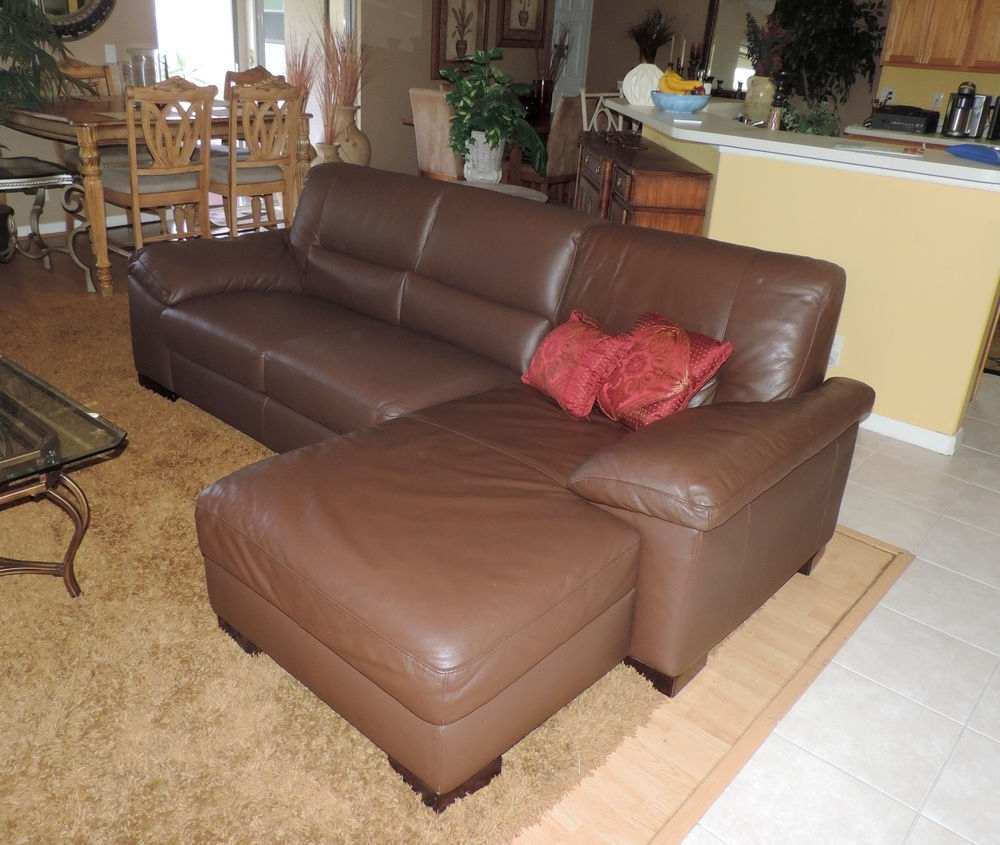 Macy's Italsofa Two Piece Chocolate Leather Sectional Sofa*we Ship pertaining to Macys Leather Sectional Sofas (Image 3 of 10)