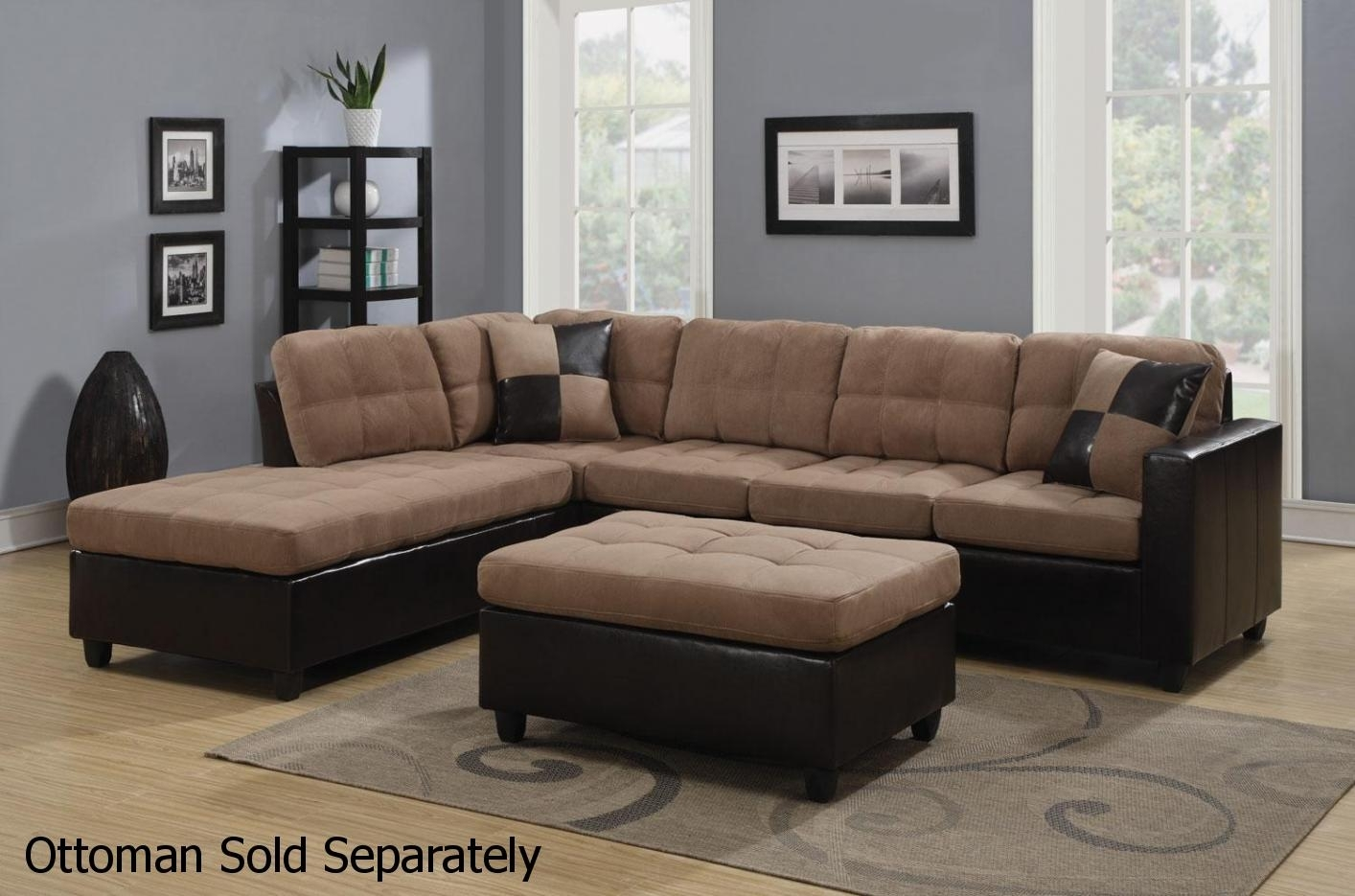Mallory Beige Leather Sectional Sofa - Steal-A-Sofa Furniture Outlet within Sectional Sofas (Image 4 of 10)