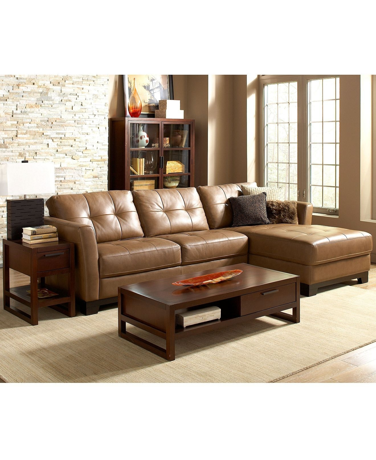 Martino Leather Sectional Living Room Furniture Sets & Pieces throughout Macys Leather Sectional Sofas (Image 8 of 10)