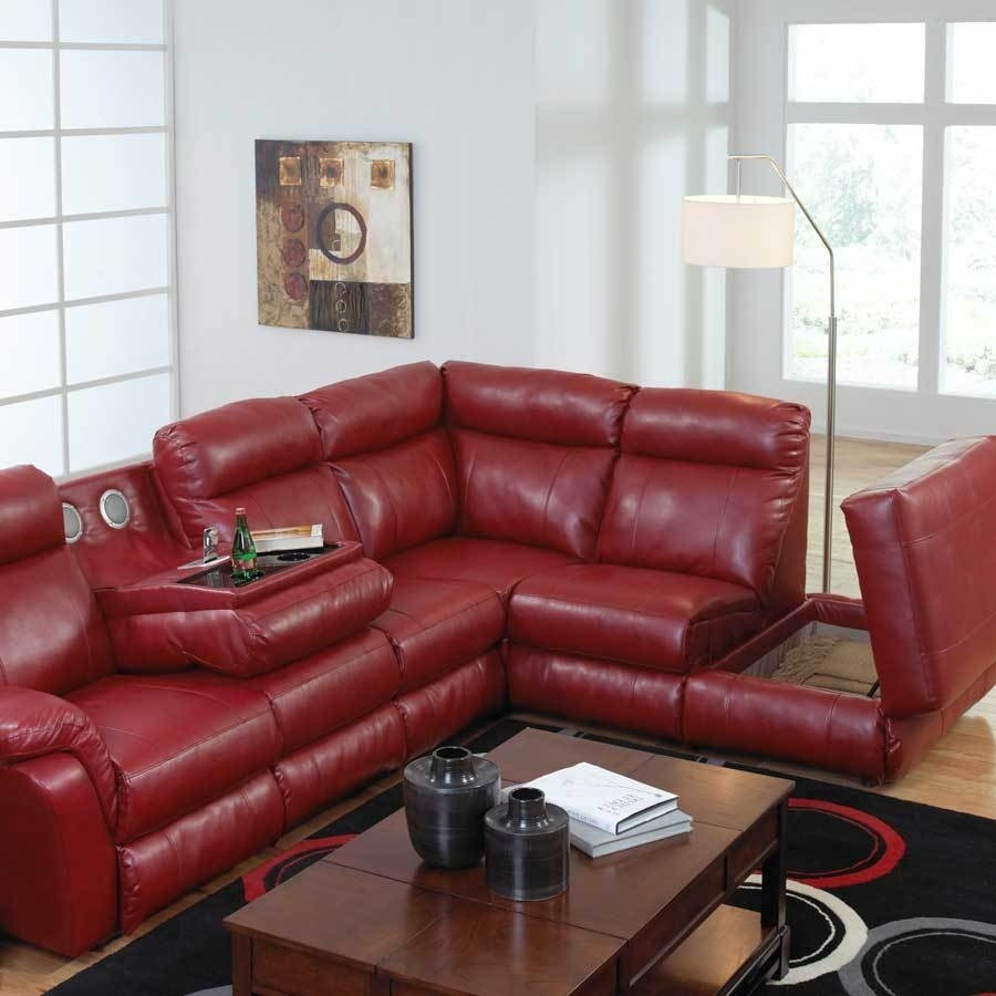 Featured Photo of Red Leather Sectional Sofas With Recliners