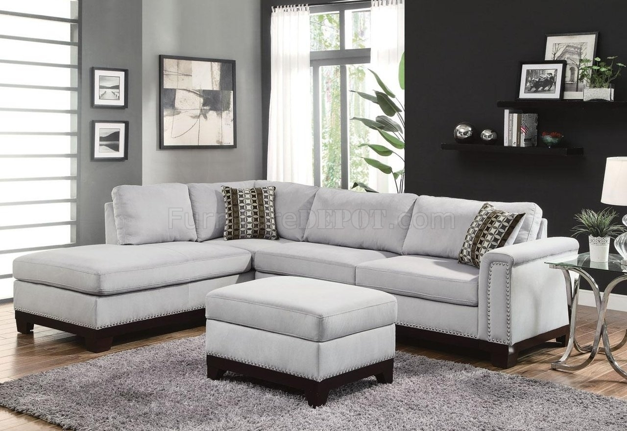 Mason Sectional Sofa 503615 In Blue Grey Fabriccoaster intended for Light Grey Sectional Sofas (Image 8 of 10)
