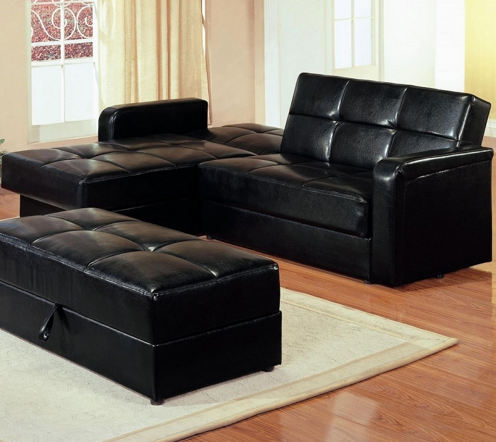 Maximizing Small Living Room Spaces With American Black Leather in Sectional Sleeper Sofas With Ottoman (Image 11 of 15)