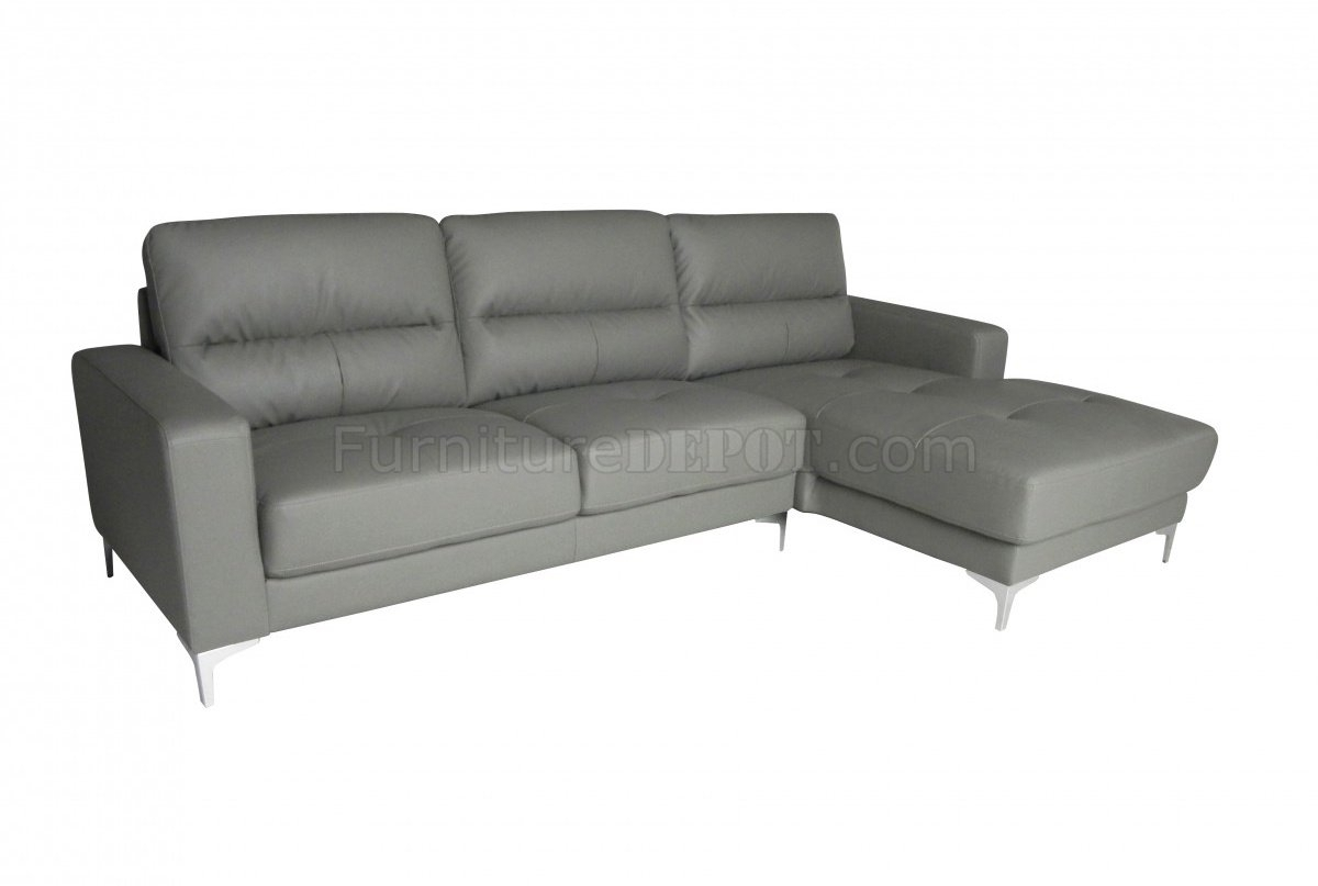 Memphis Sectional Sofa In Gray Bonded Leatherwhiteline inside Memphis Sectional Sofas (Image 5 of 10)