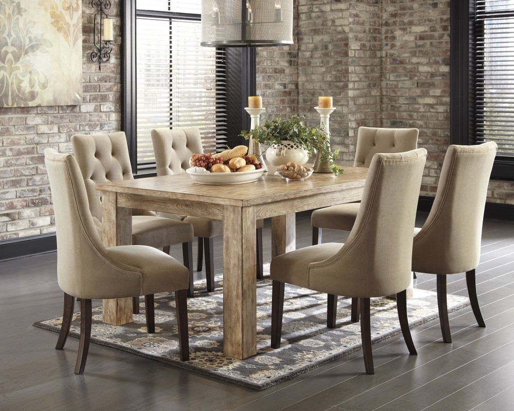 Mestler Bisque Rectangular Dining Room Table & 4 Light Brown Uph inside Sofa Chairs With Dining Table (Image 7 of 10)