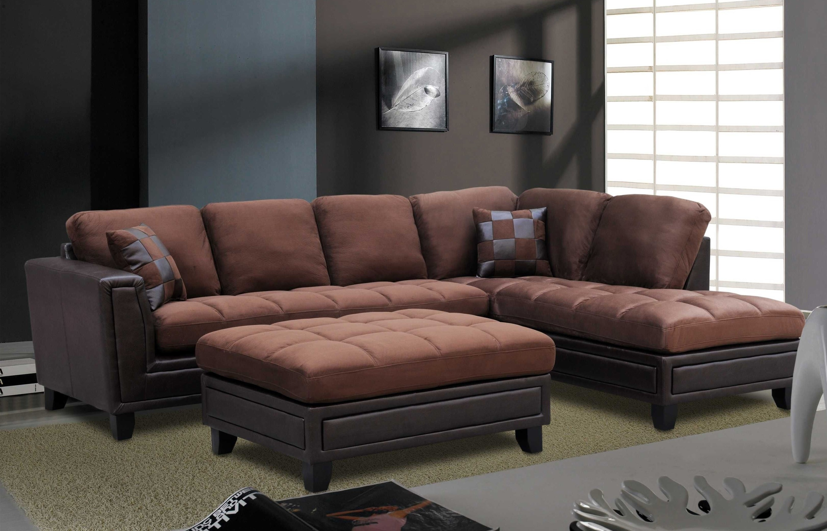 Microfiber Sectional With Free Ottoman – Chocolate Brown | Orange Throughout Orange County Ca Sectional Sofas (View 8 of 10)