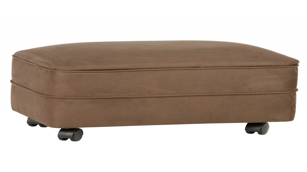 Microfiber Storage Ottoman, Footstools And Ottomans With Wheels within Ottomans With Wheels (Image 10 of 15)