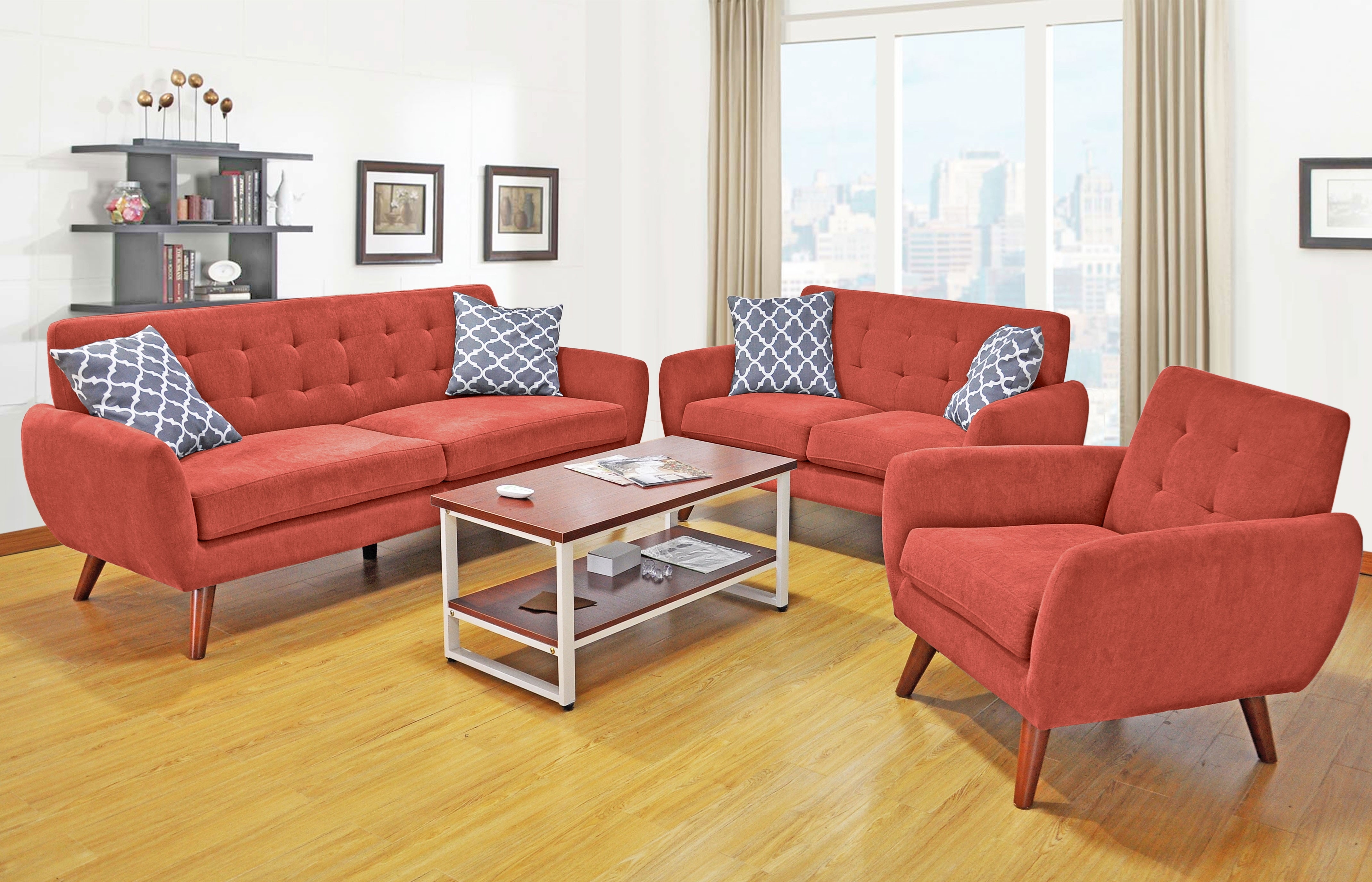 Mid Century Modern Sofa & Loveseat Living Room Set | Orange County in Orange County Sofas (Image 7 of 10)