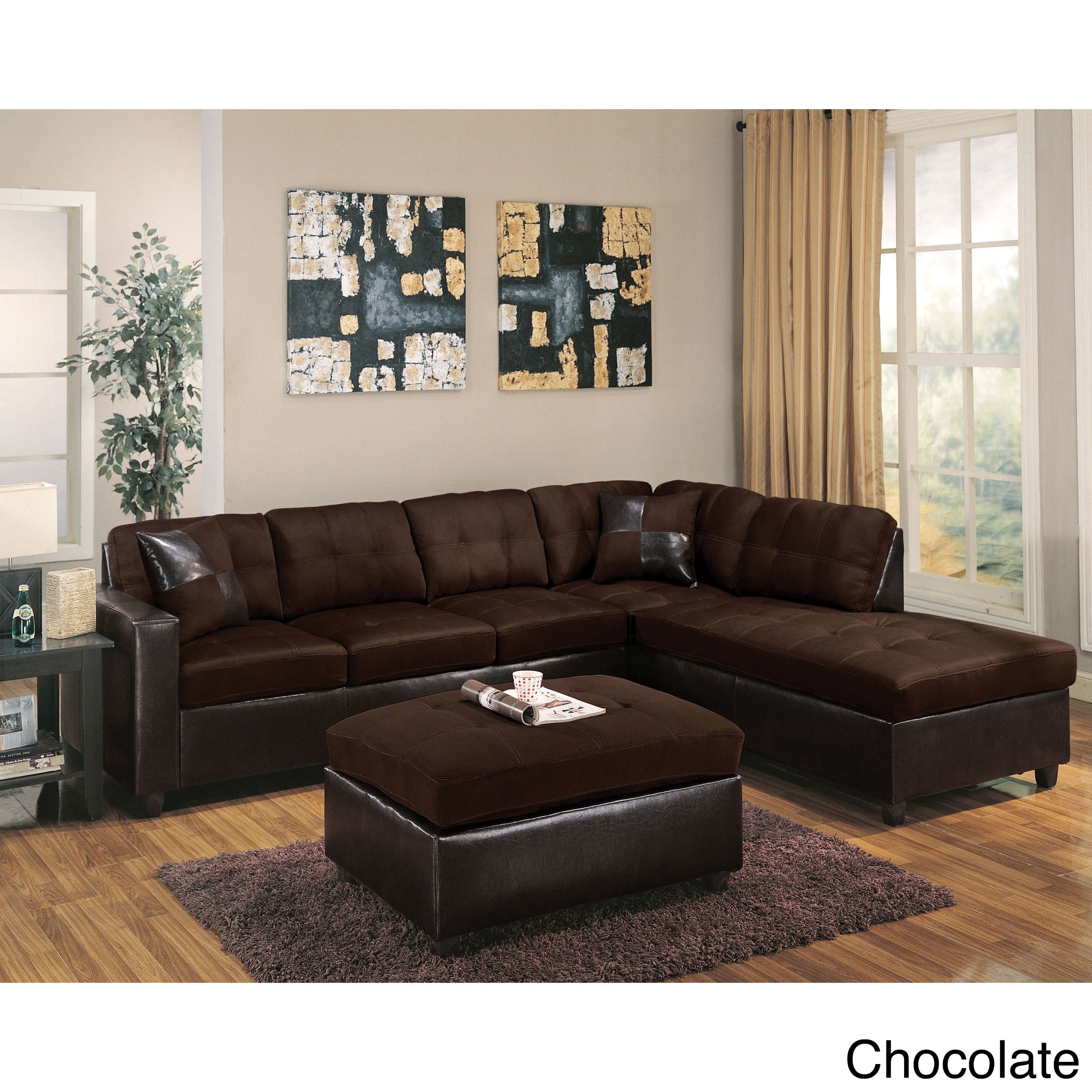 Milano Reversible Sectional Sofa In Chocolate Easy Rider And for Chocolate Sectional Sofas (Image 10 of 15)