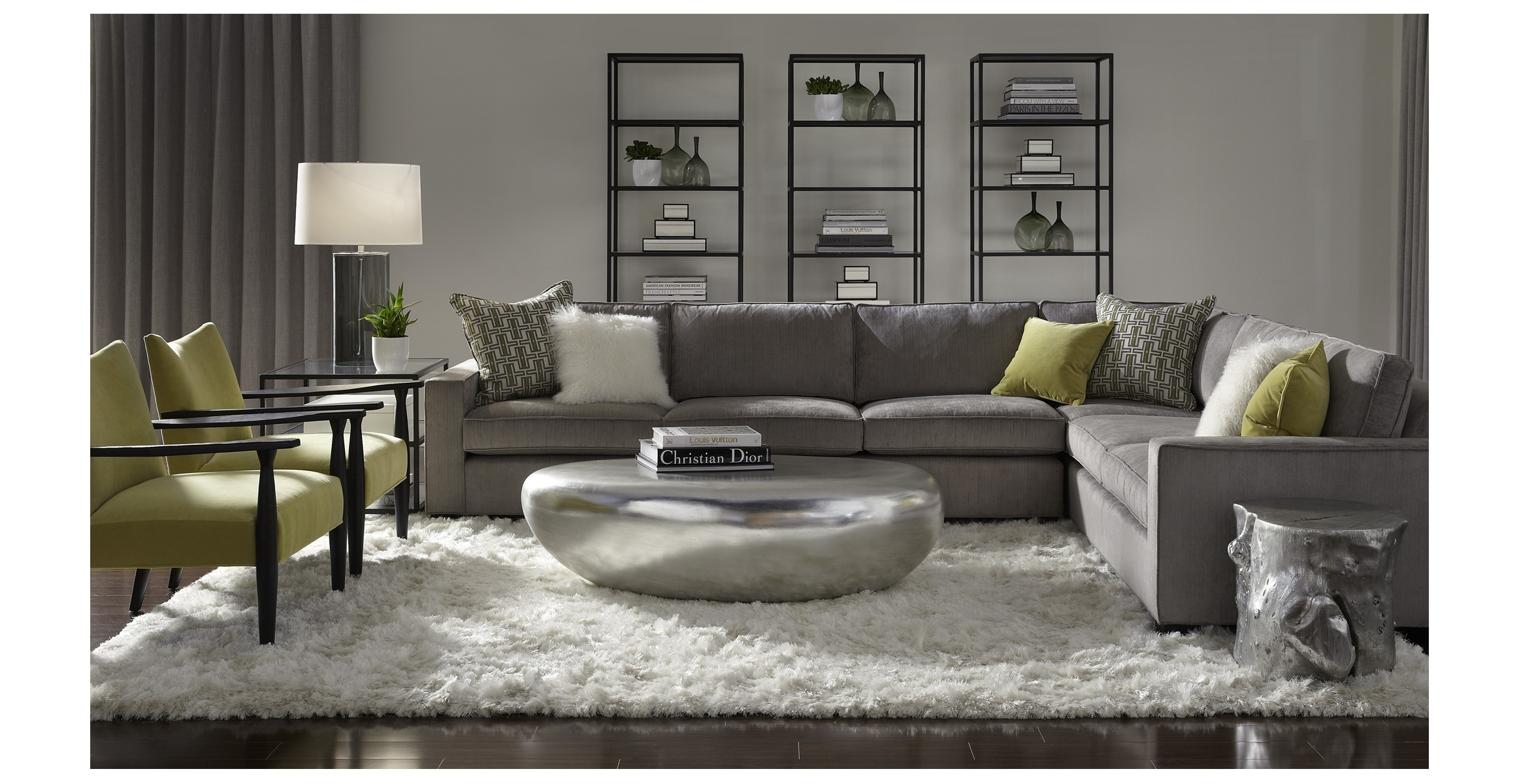 Mitchell Gold + Bob Williams Carson Sectional. Slate Gray And Lime inside Gold Sectional Sofas (Image 5 of 10)