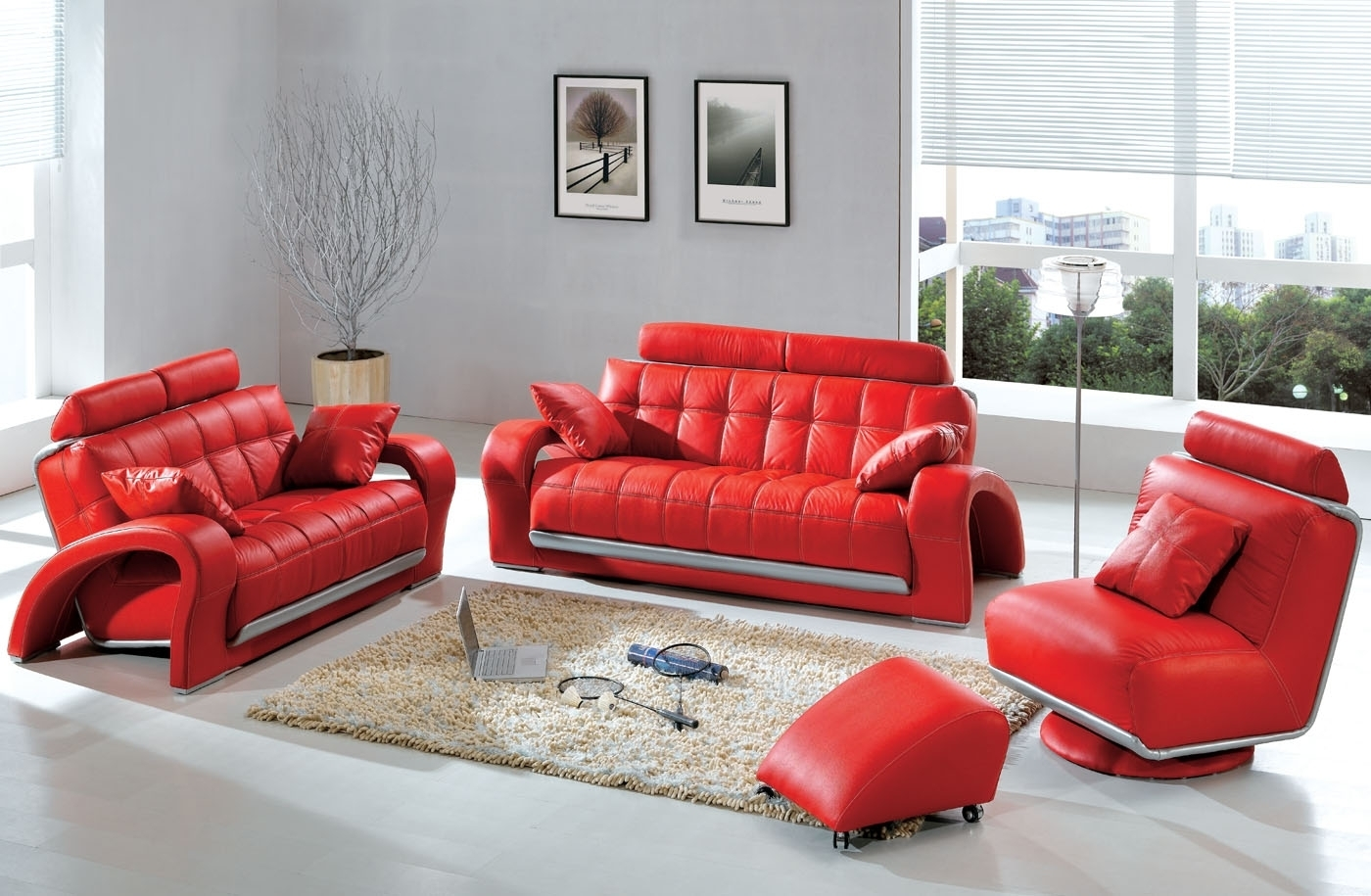 Modern & Contemporary Leather Sofa & Sectional Sets | Funky regarding Red Leather Couches For Living Room (Image 6 of 15)