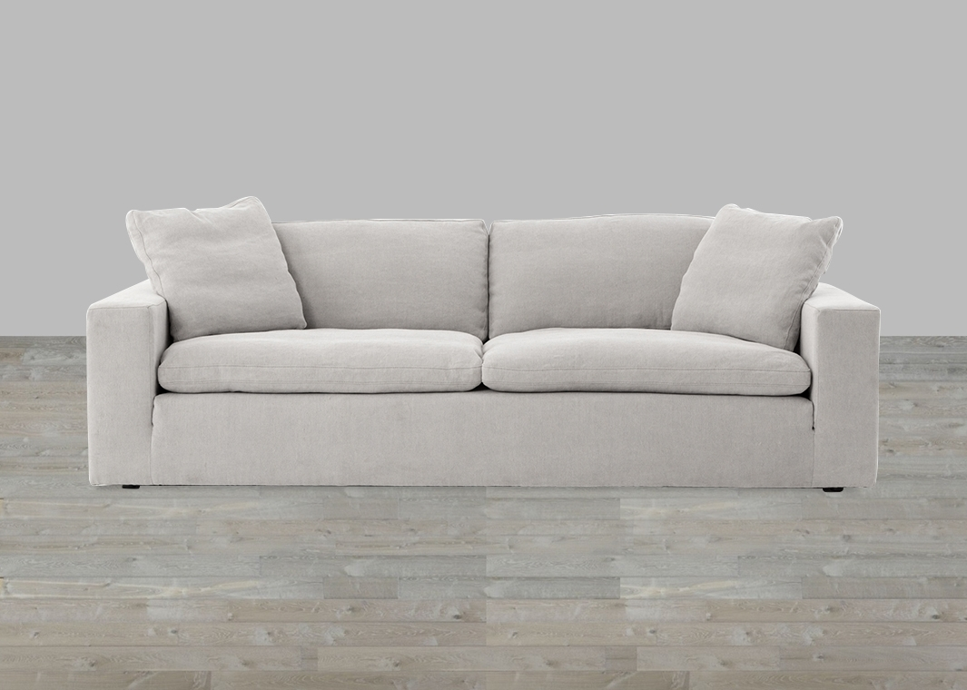 Modern Heather Twill Pewter Feather & Down Filled Plume Sofa Inside Down Filled Sofas (View 4 of 10)