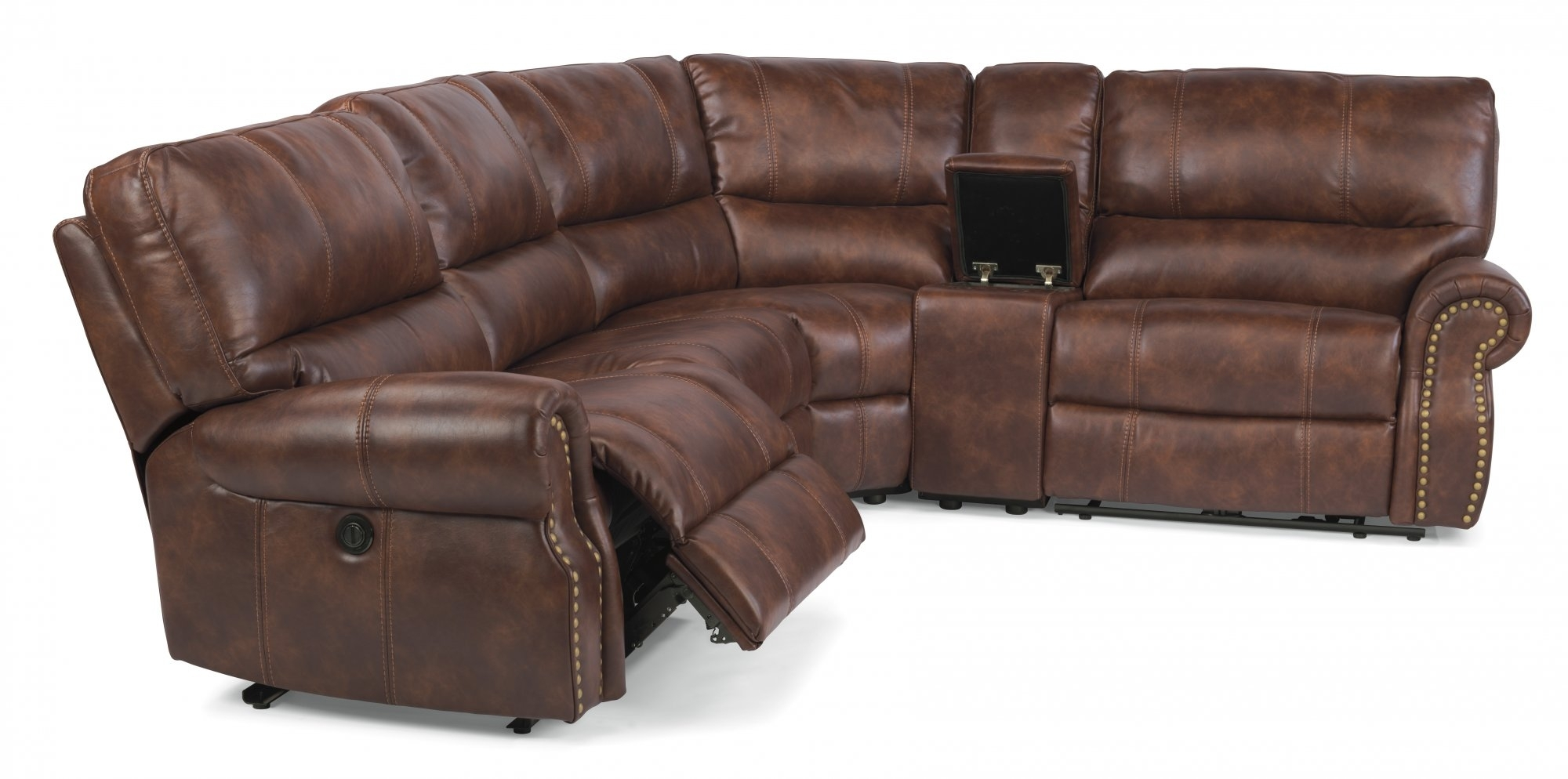 Modern Leather Sectional Sofa Recliners Brown Recliner Reclining for Sectional Sofas With Power Recliners (Image 5 of 10)