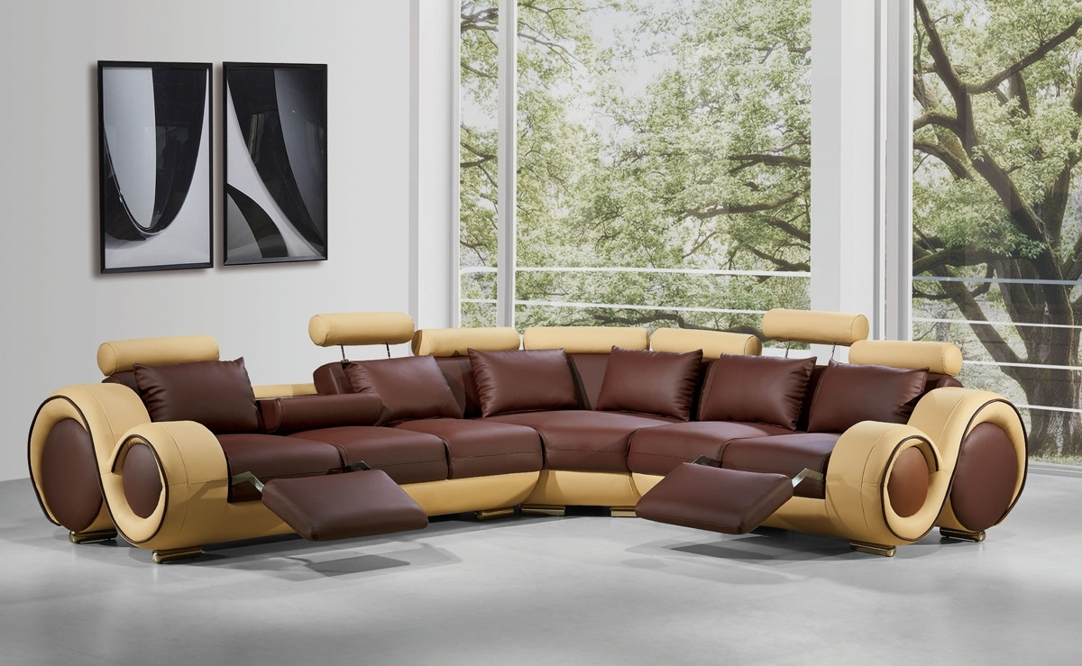 Modern Leather Sectional Sofa With Recliners In Leather Sectional Sofas (View 5 of 10)