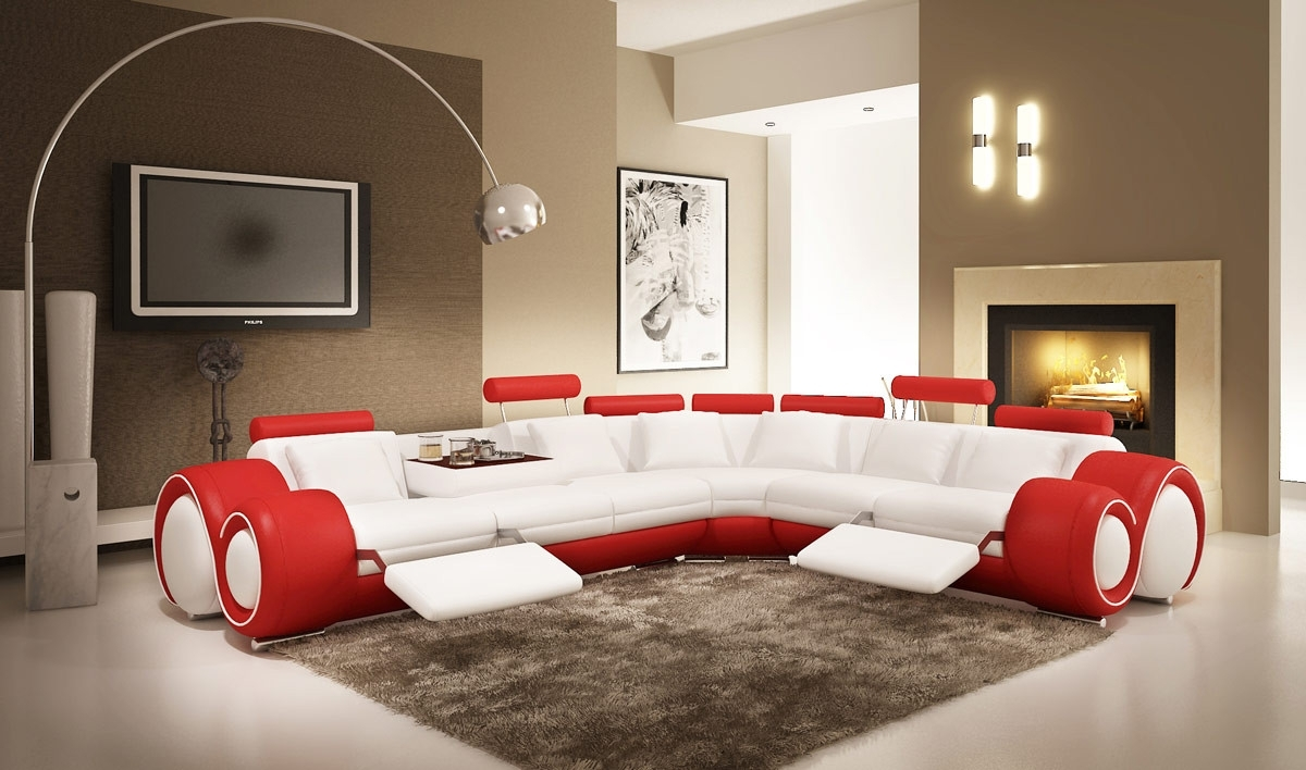 Modern Leather Sectional Sofa With Recliners with Red Leather Sectional Sofas With Recliners (Image 7 of 15)