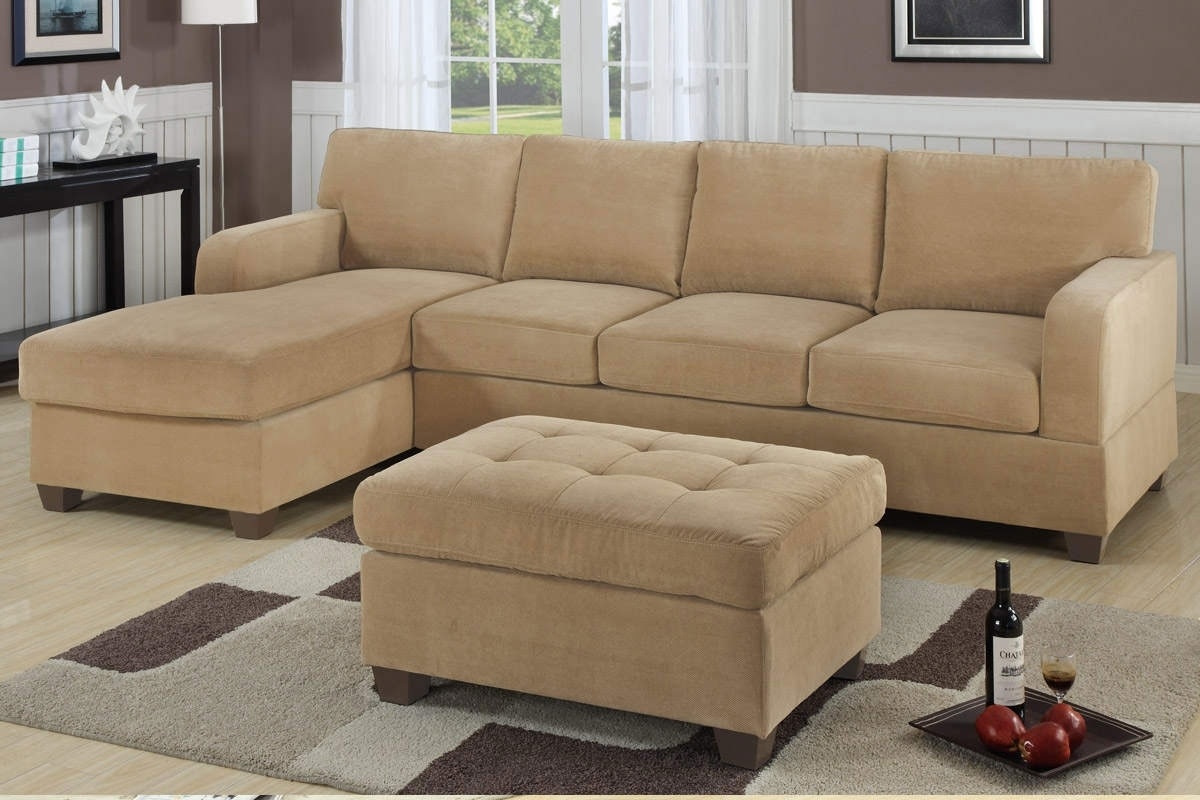 Modern Living Room With Light Cream Velvet Sectional Sofaand Tufted With Small Sectional Sofas With Chaise And Ottoman (View 5 of 15)