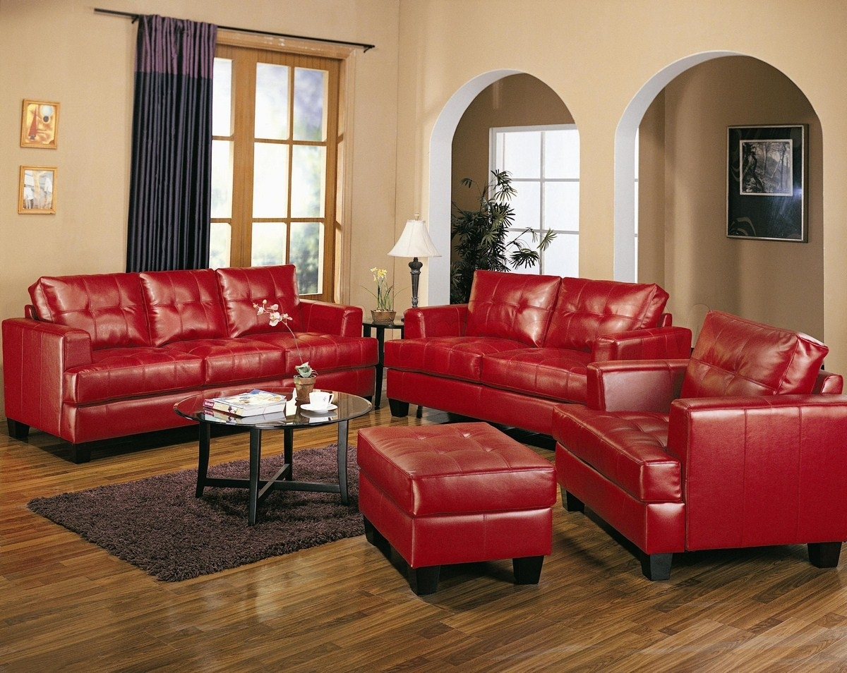 Modern Red Sofa Living Room Samuel Red Leather Pcs Living Room Set intended for Red Leather Couches and Loveseats (Image 6 of 15)
