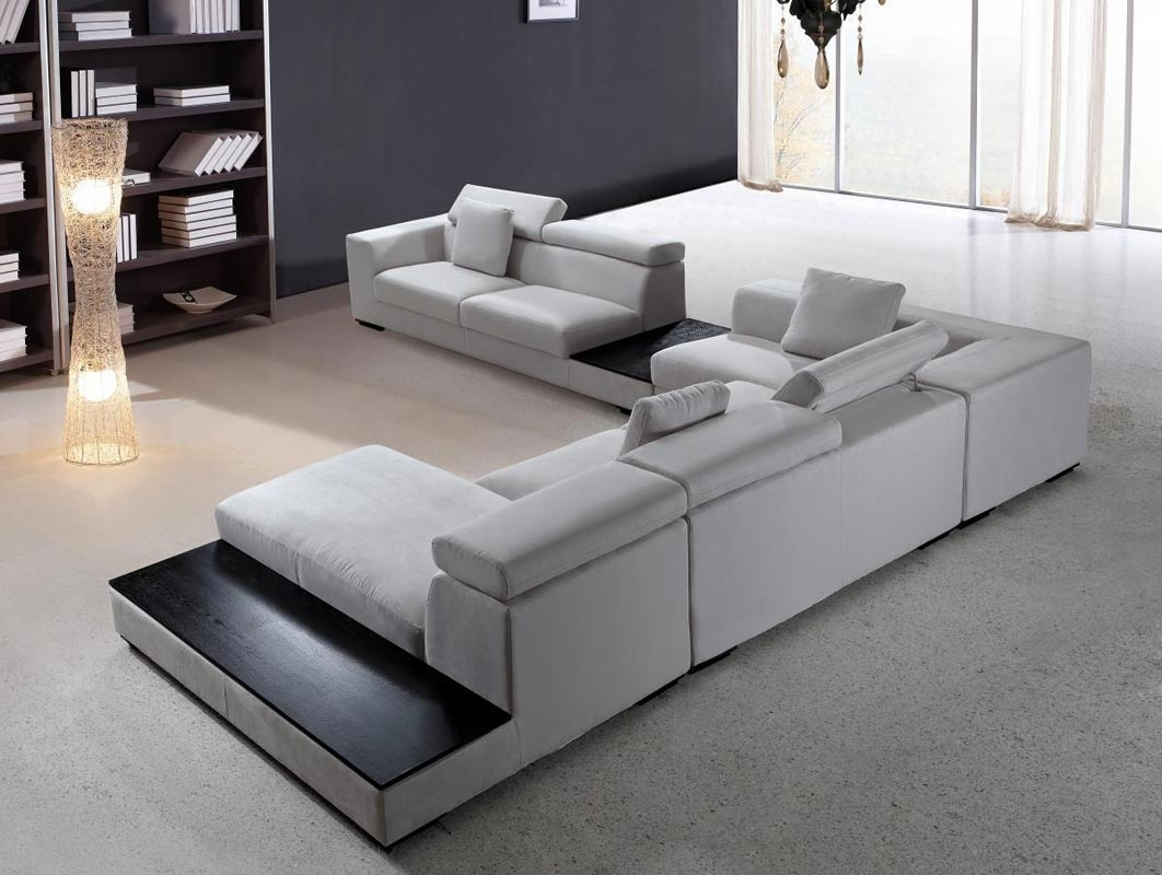 Modern Sectional Sofa Grey Microfiber Vg Fort 16 | Fabric Sectional for Contemporary Sectional Sofas (Image 8 of 15)