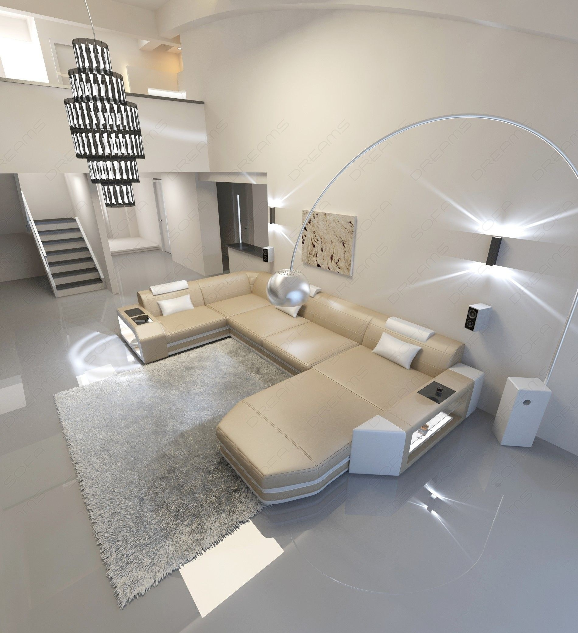Modern U Shaped Sofa Dallas With Lights within Modern U Shaped Sectionals (Image 6 of 15)
