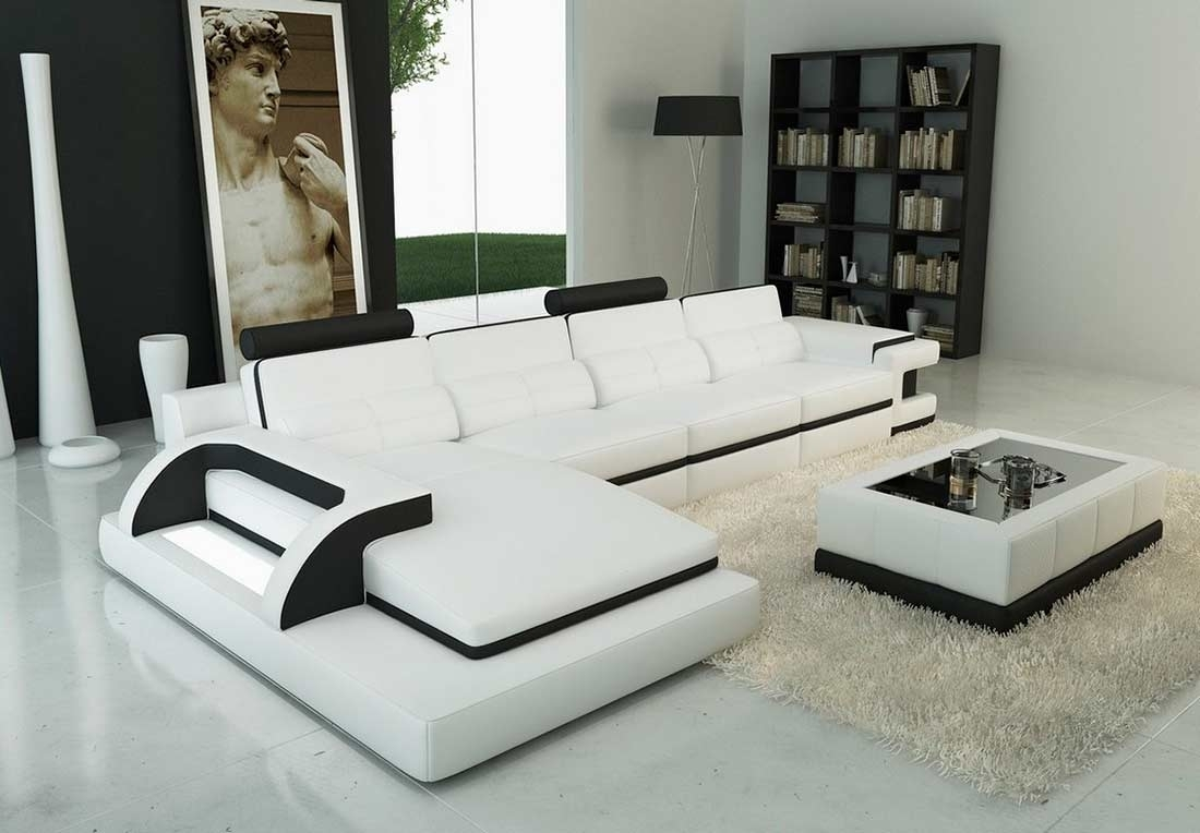 Modern White Leather Sectional Sofa Vg122C | Leather Sectionals within Modern Sectional Sofas (Image 7 of 10)