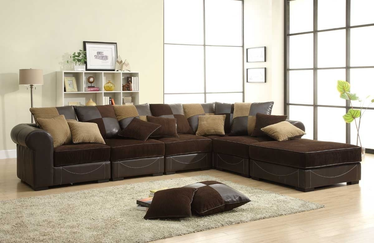 Modular Chocolate Microfiber & Leather Sectional Sofa | Http://ml2R Intended For Chocolate Brown Sectional Sofas (View 8 of 10)