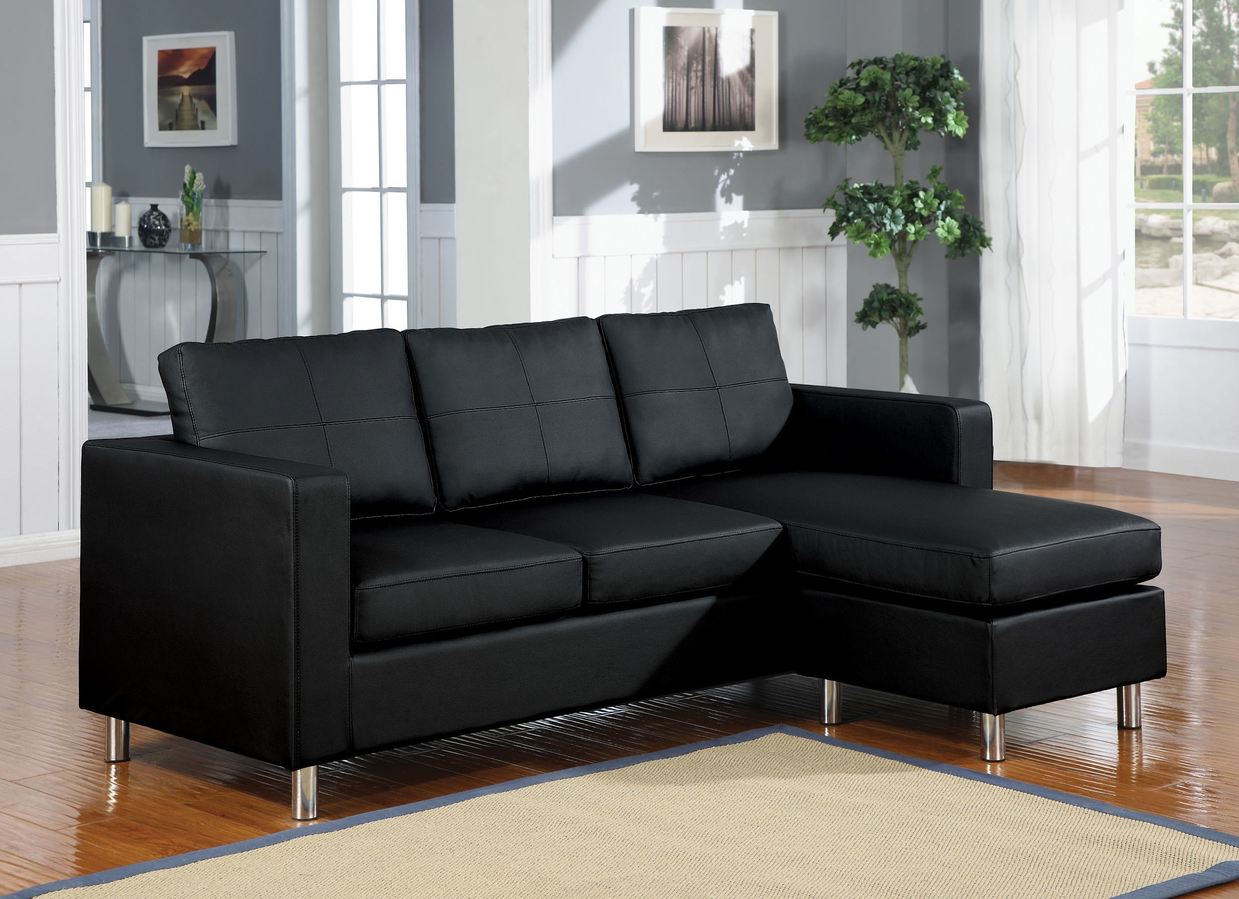 Modular Sectional Sofas Designs Ideas Plans Model Design Kemen Sofa with regard to Black Leather Sectionals With Ottoman (Image 10 of 15)