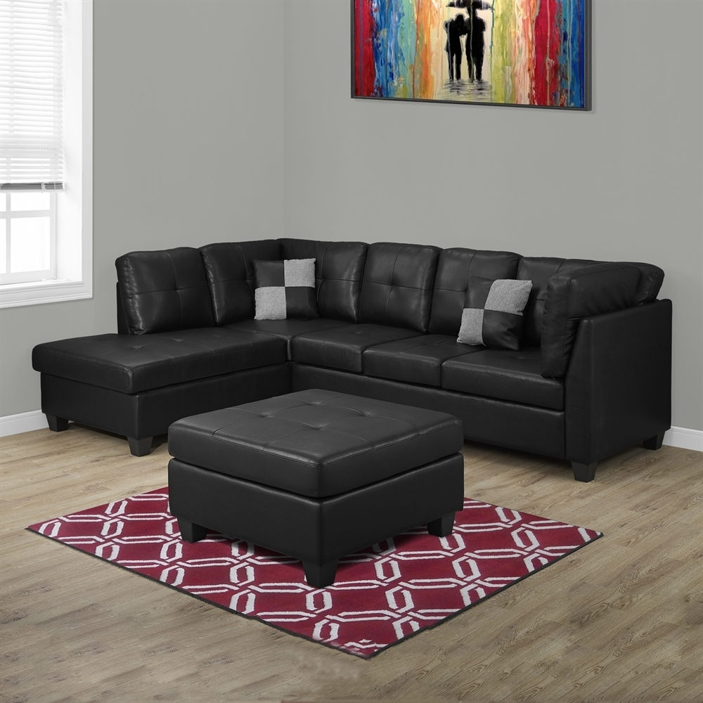 Monarch Specialties I 8375 Bonded Leather Sectional Sofa | Lowe's Canada Pertaining To Sectional Sofas At Bc Canada (View 15 of 15)