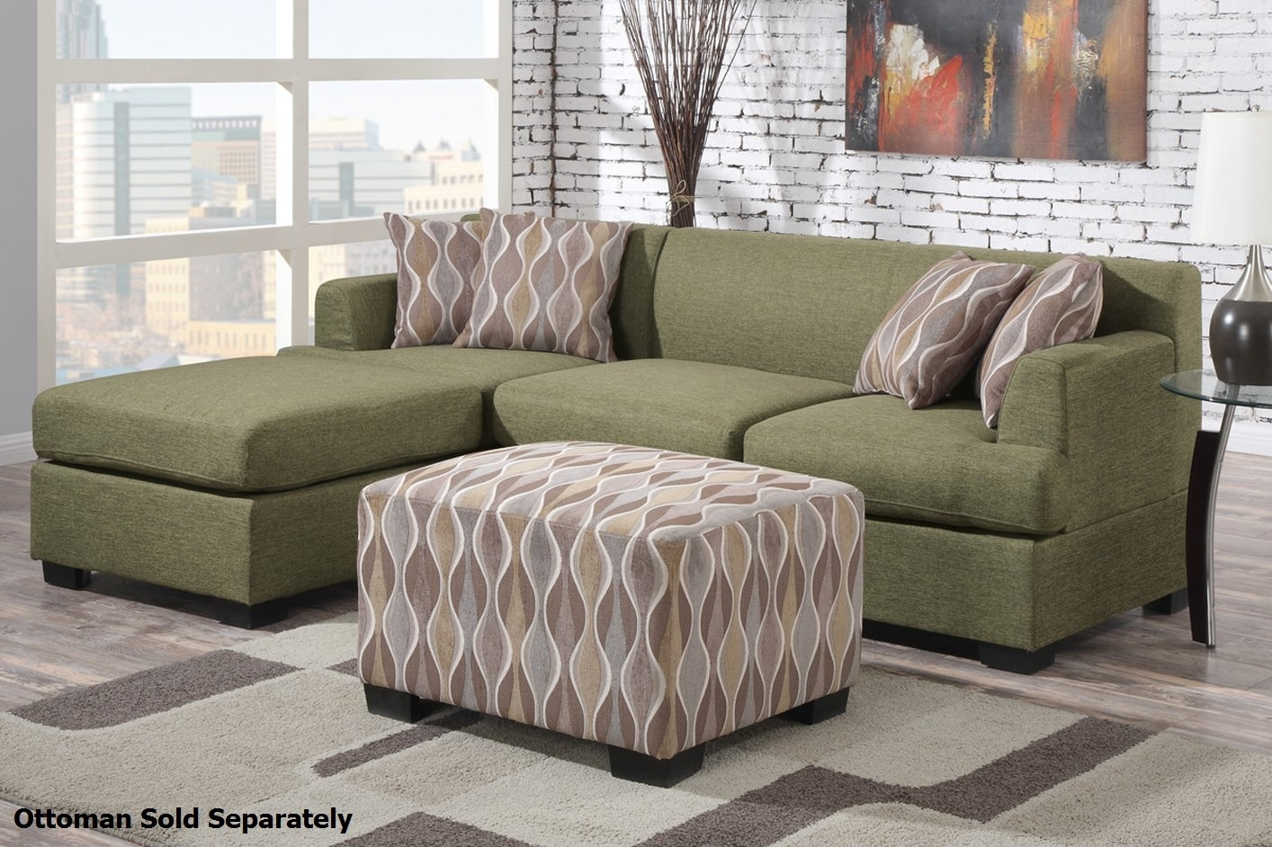 Montreal Ii Green Fabric Sectional Sofa – Steal A Sofa Furniture Throughout Green Sectional Sofas (View 9 of 10)