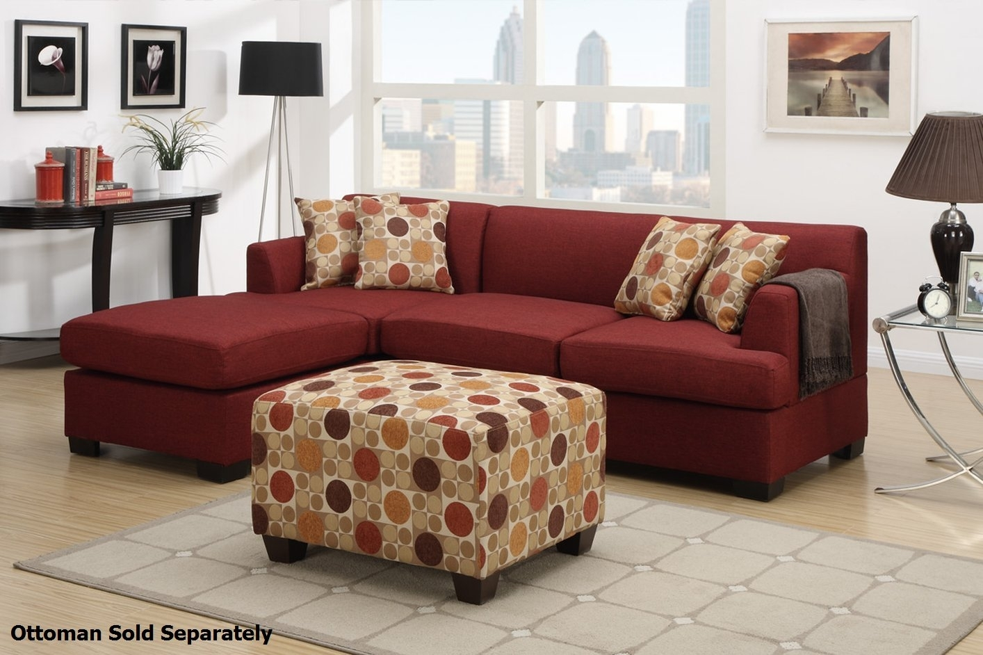 Montreal Ii Red Fabric Sectional Sofa – Steal A Sofa Furniture With Red Sectional Sofas With Ottoman (View 14 of 15)