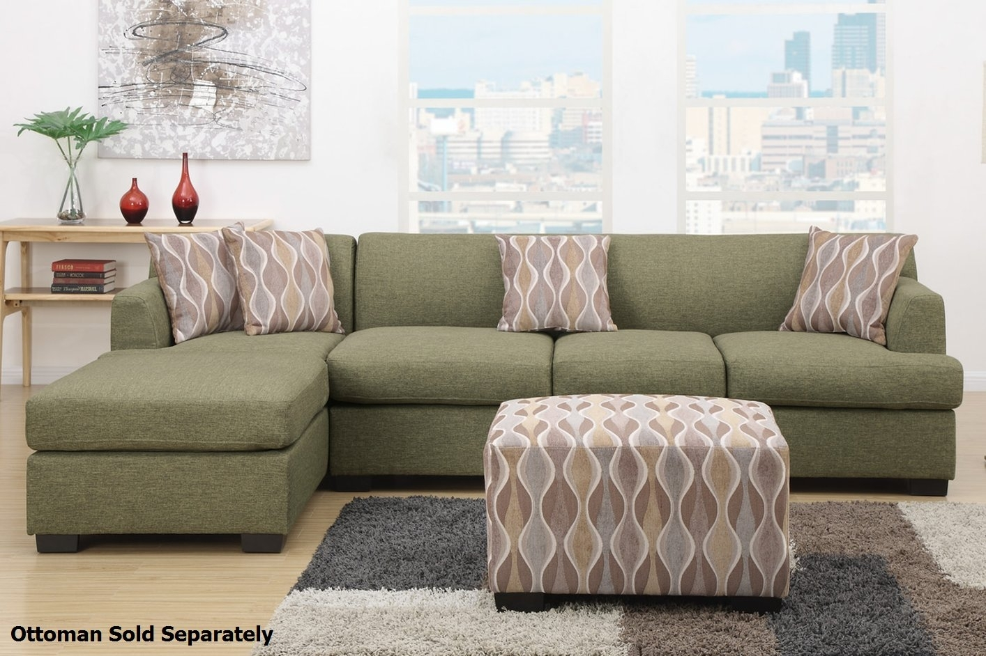Montreal Iii Green Fabric Sectional Sofa – Steal A Sofa Furniture Within Green Sectional Sofas (View 4 of 10)