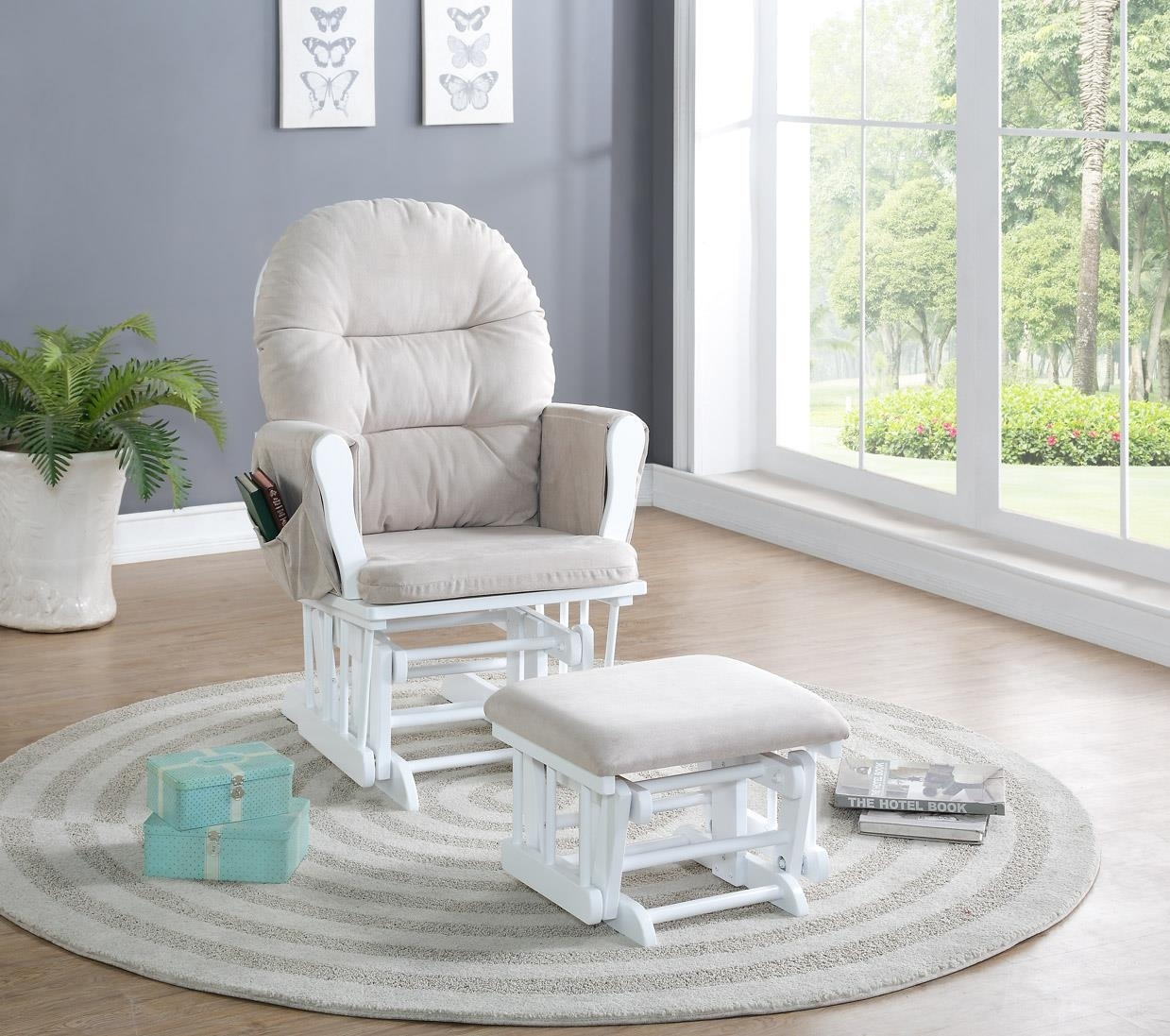 Naomi Home Brisbane Glider & Ottoman Set | Ojcommerce With Gliders With Ottoman (Photo 13 of 15)