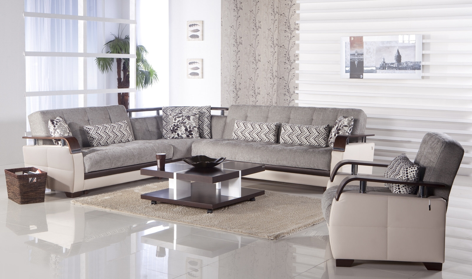 Natural Valencia Grey Sectional Sofaistikbal (Sunset) Within Light Grey Sectional Sofas (Photo 9 of 10)