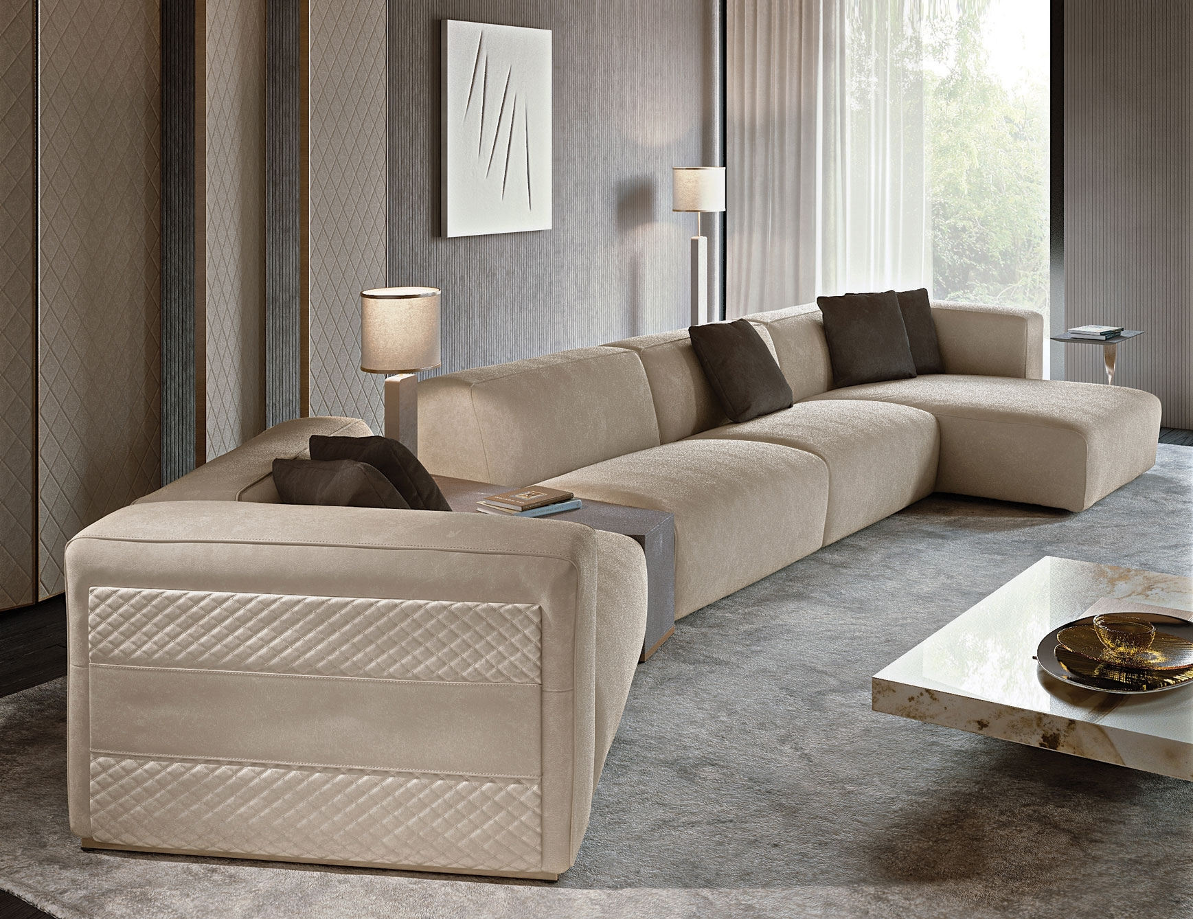 Nella Vetrina Rugiano Freud Sectional Sofa In Suede Within High End Sofas (Photo 3 of 10)