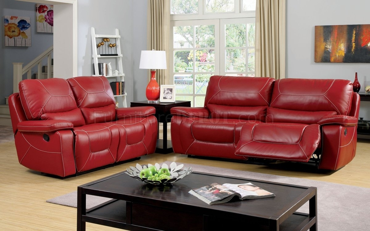 Newburg Reclining Sofa Cm6814Rd In Red Leather Match W/options Inside Red Leather Reclining Sofas And Loveseats (Photo 2 of 15)