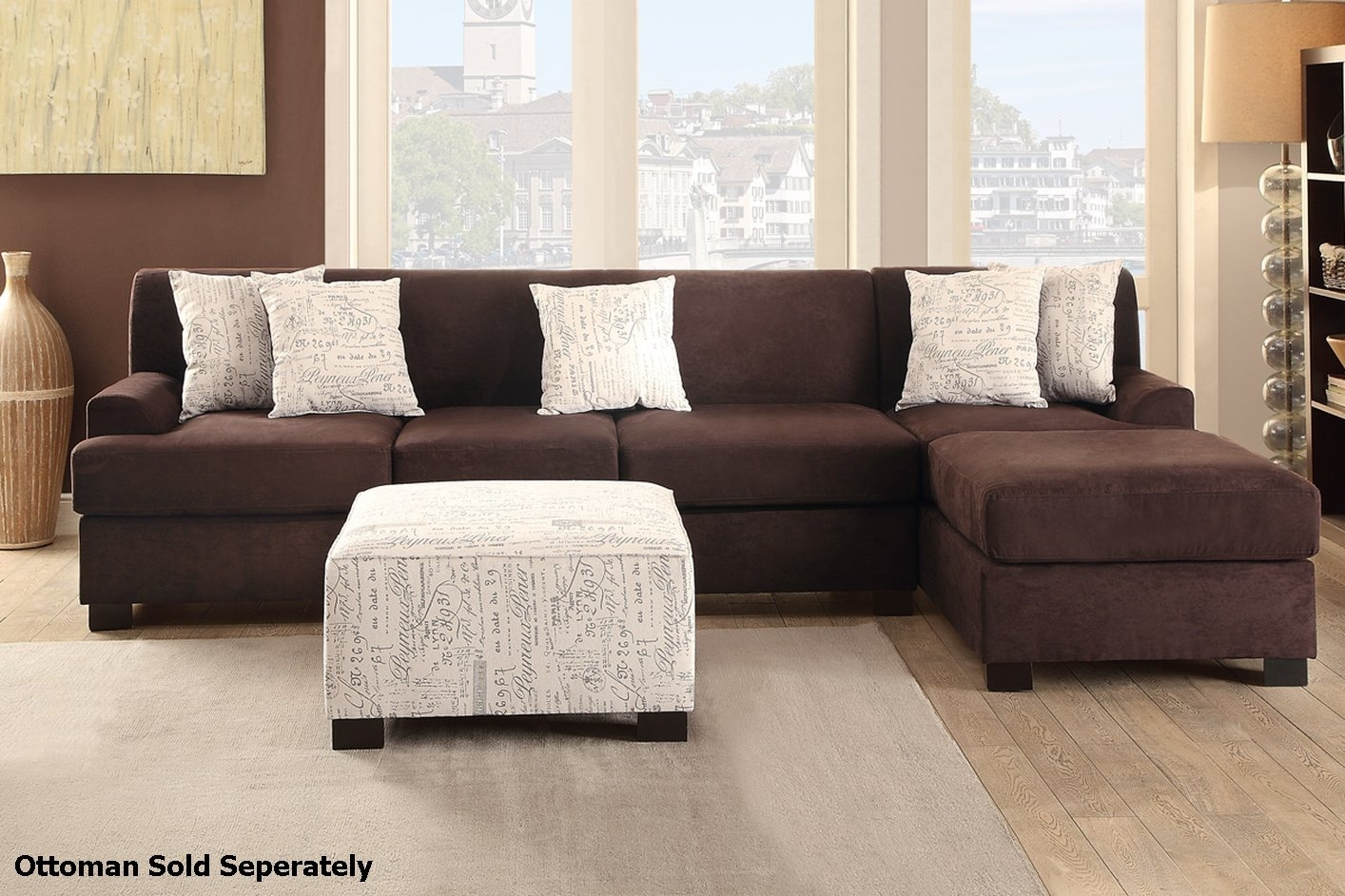 Nia Brown Fabric Sectional Sofa   Steal A Sofa Furniture Outlet Los Throughout Fabric Sectional Sofas (Photo 6 of 10)