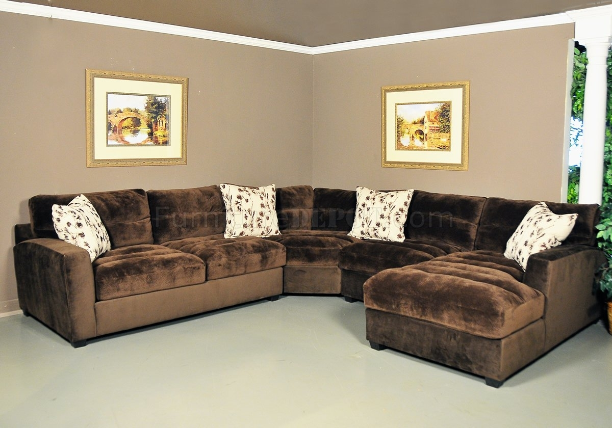 Nobel Chocolate Fabric Modern 4Pc Sectional Sofa Throughout Chocolate Sectional Sofas (Photo 8 of 15)