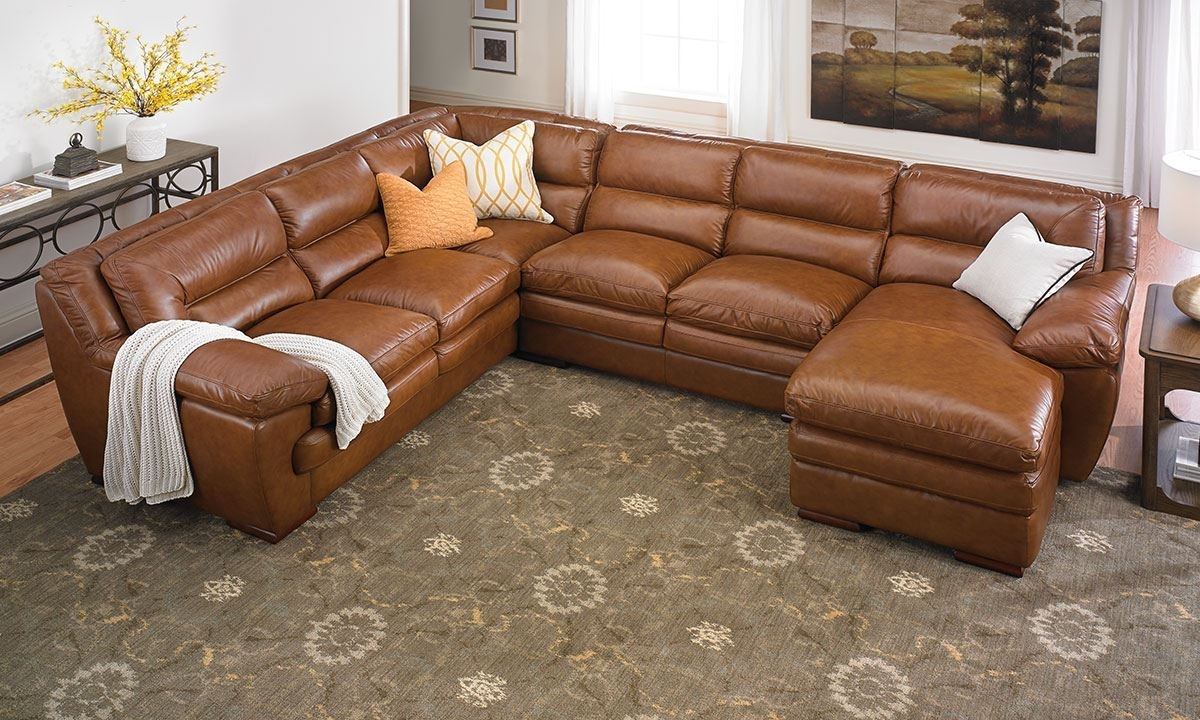 Odyssey Leather Pillowtop Sectional With Chaise | The Dump Luxe In Sectional Sofas In Houston Tx (View 7 of 10)
