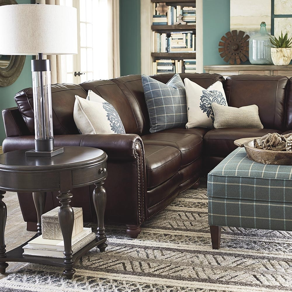 Old World Brown Leather Sectional | Bassett Furniture intended for Hamilton Sectional Sofas (Image 8 of 10)
