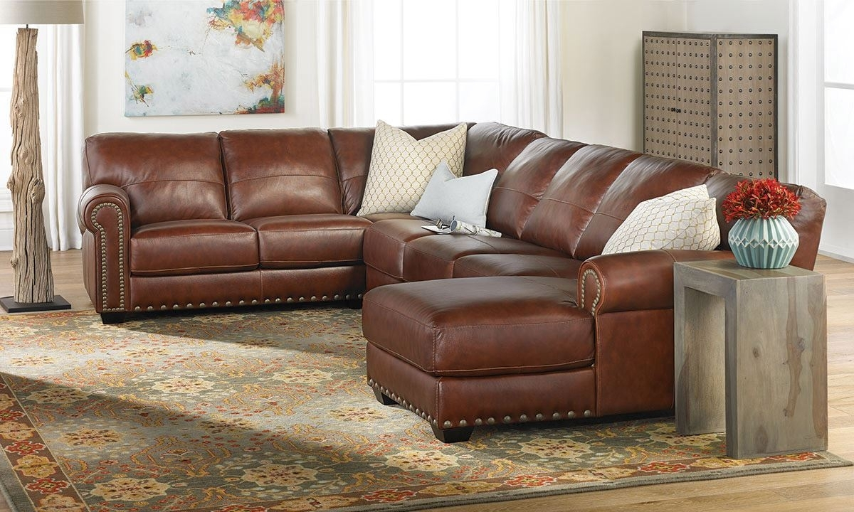 O'neal Top Grain Leather Sectional With Chaise | The Dump Luxe Intended For Leather Sectional Sofas (View 4 of 10)