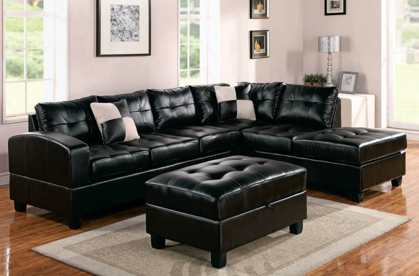 Oversized Black Leather Sectional Sofa With Tables | Family Room for Black Leather Sectionals With Ottoman (Image 11 of 15)