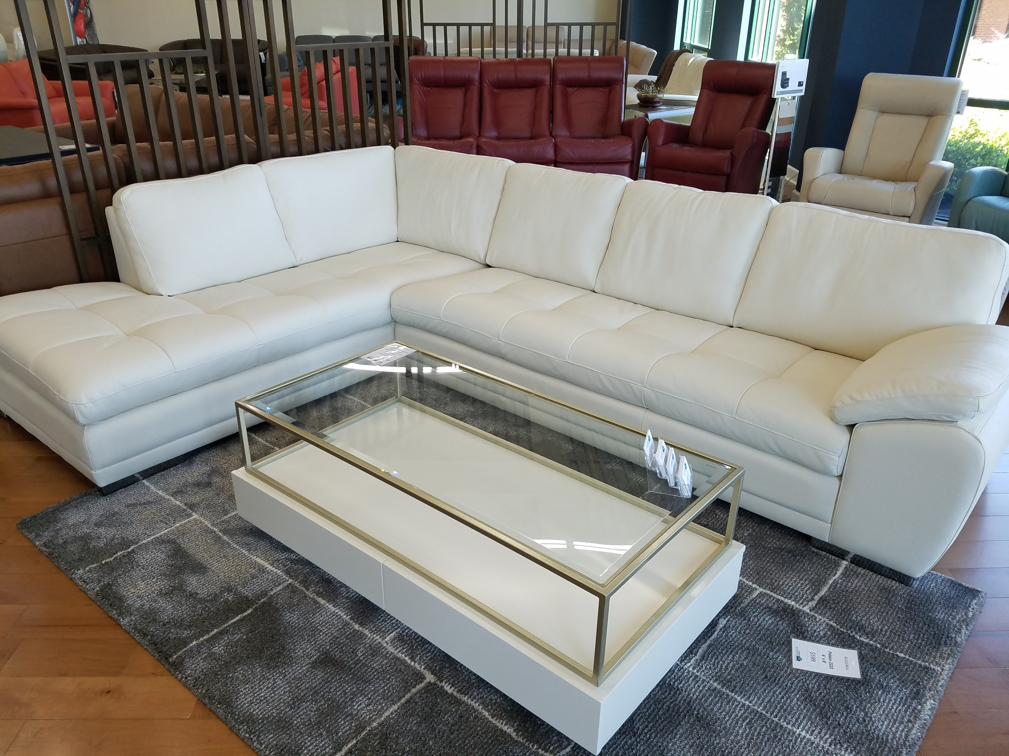 Palliser Miami Sectional Lhf Chaise Bumper And Rhf Sofa Leather regarding Miami Sectional Sofas (Image 8 of 10)