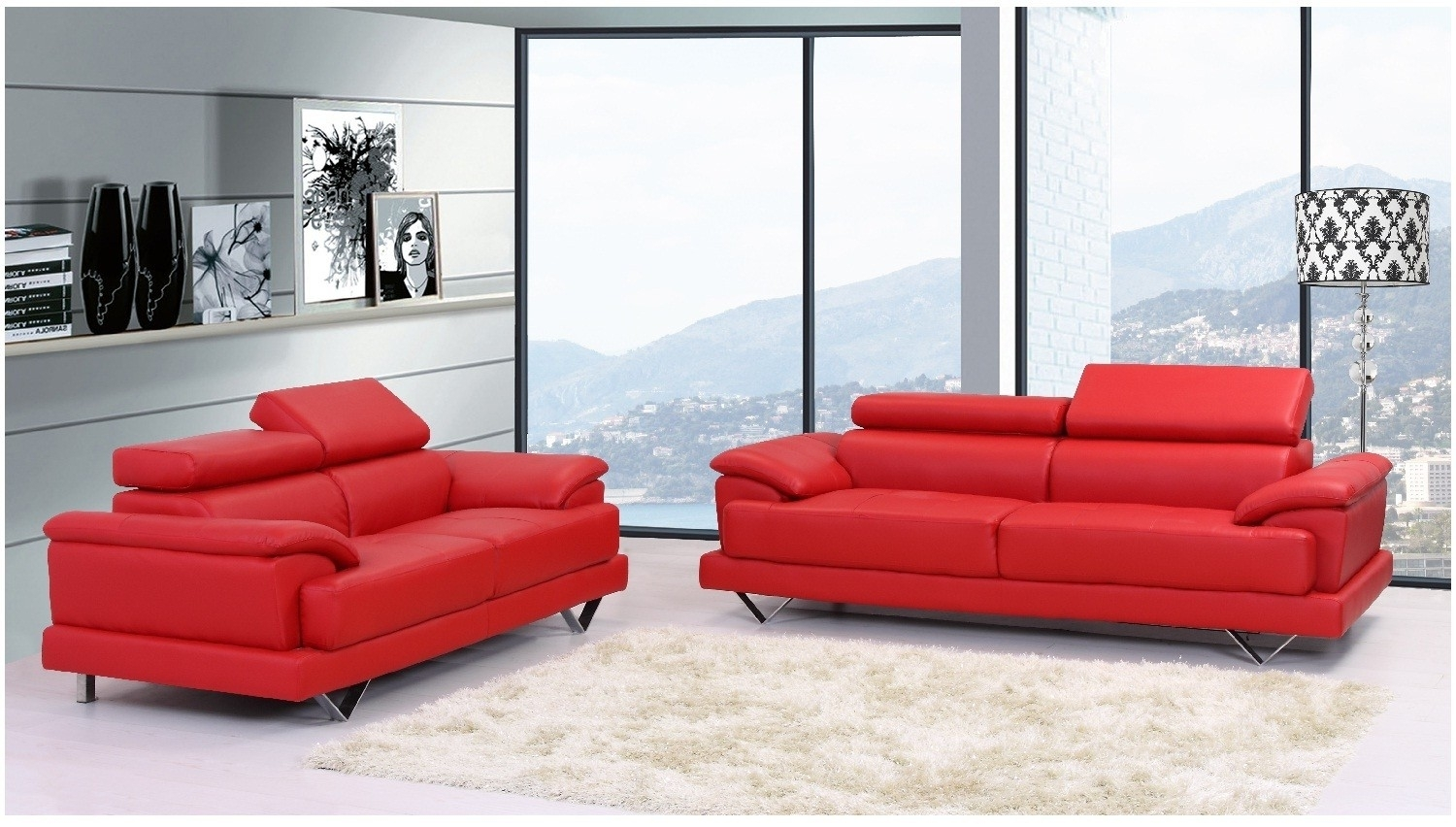 Perfect Red Leather Sofas 90 For Contemporary Sofa Inspiration With With Regard To Red Leather Sofas (View 14 of 15)