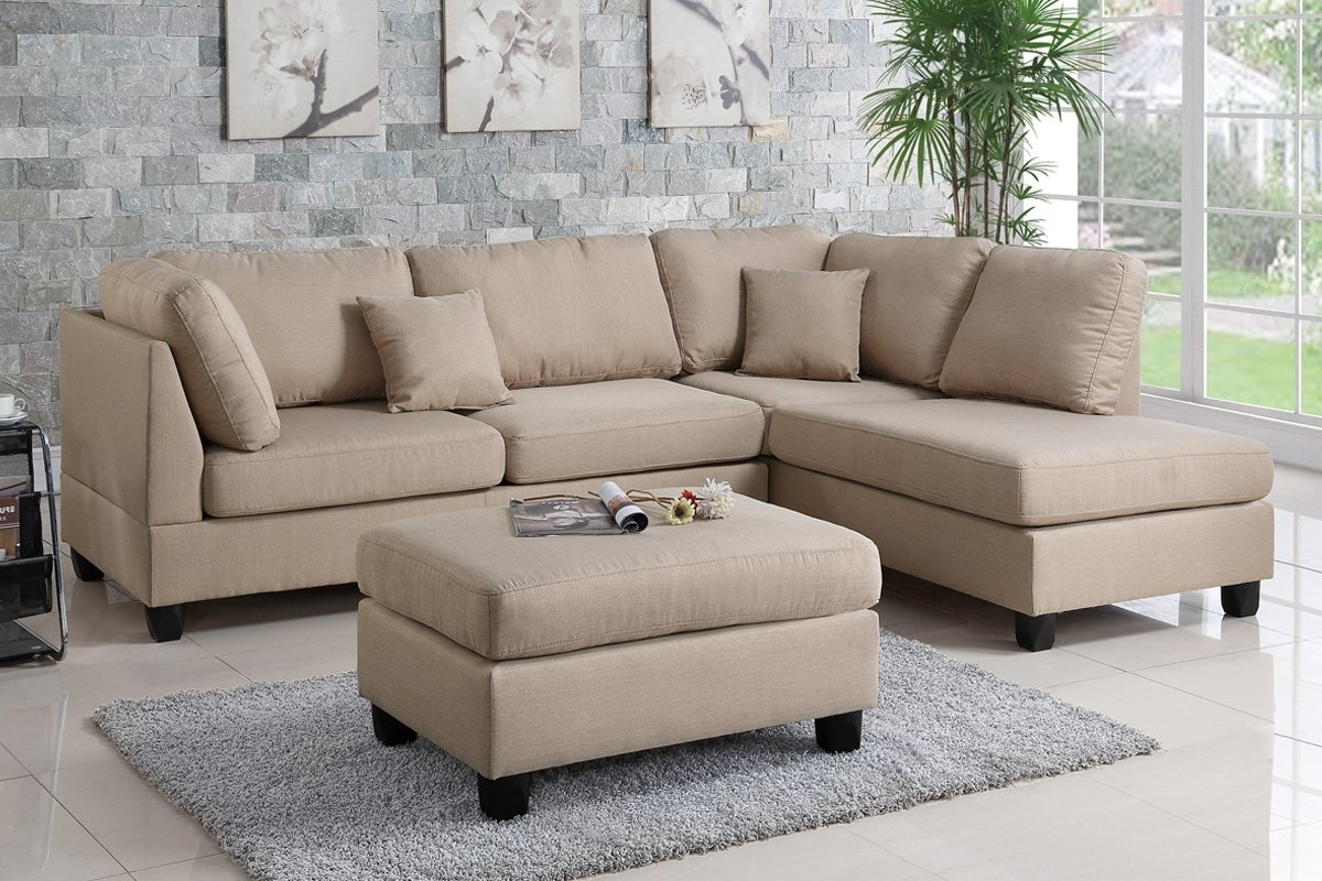Poundex Bobkona F7605 Sand Reversible Chaise Sectional Sofa & Ottoman throughout Sectional Sofas With Ottoman (Image 10 of 15)