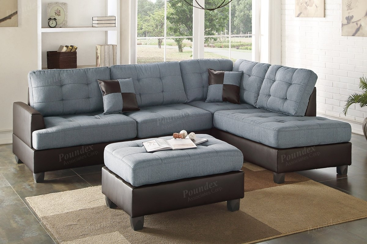 Poundex Bobkona Matthew Reversible Sectional With Ottoman & Reviews pertaining to Sectionals With Ottoman (Image 12 of 15)