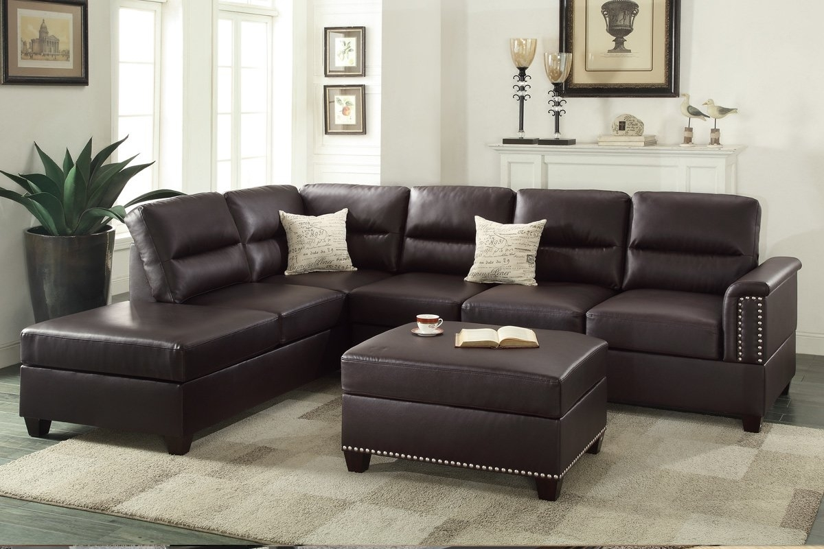 Poundex Bobkona Toffy Reversible Sectional With Ottoman & Reviews throughout Leather Sectionals With Ottoman (Image 10 of 15)