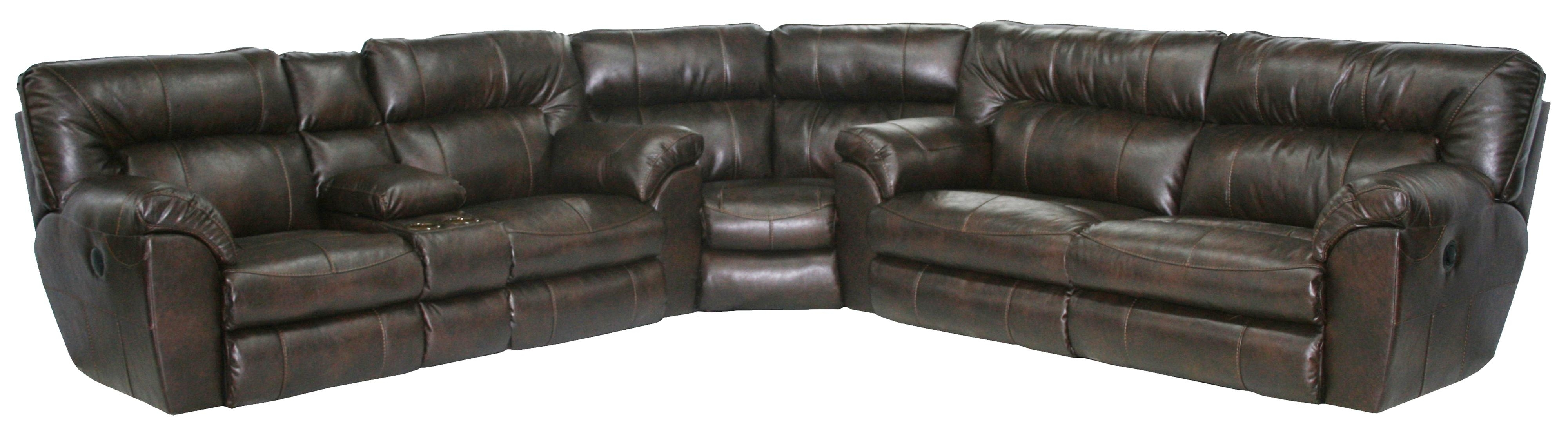Power Reclining Sectional Sofa With Left Consolecatnapper | Wolf in Sectional Sofas With Consoles (Image 4 of 10)
