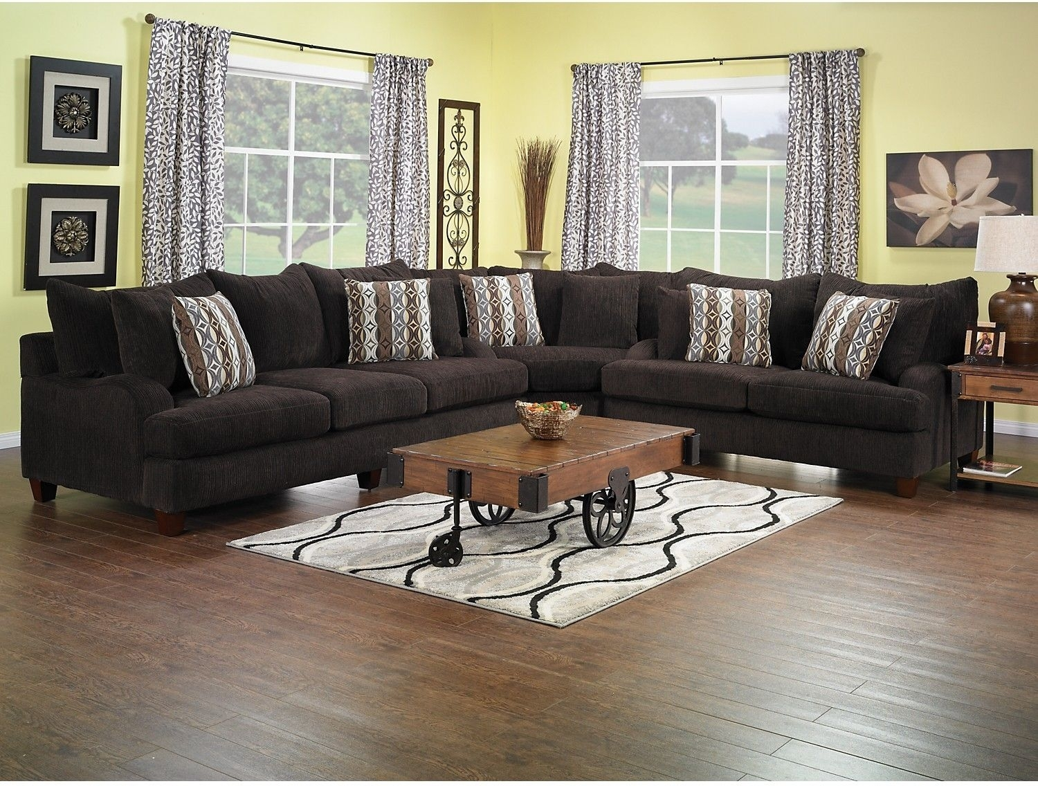 Putty Chenille 3 Piece Sectional – Chocolate | Living Room Furniture In Sectional Sofas At Brick (View 11 of 15)