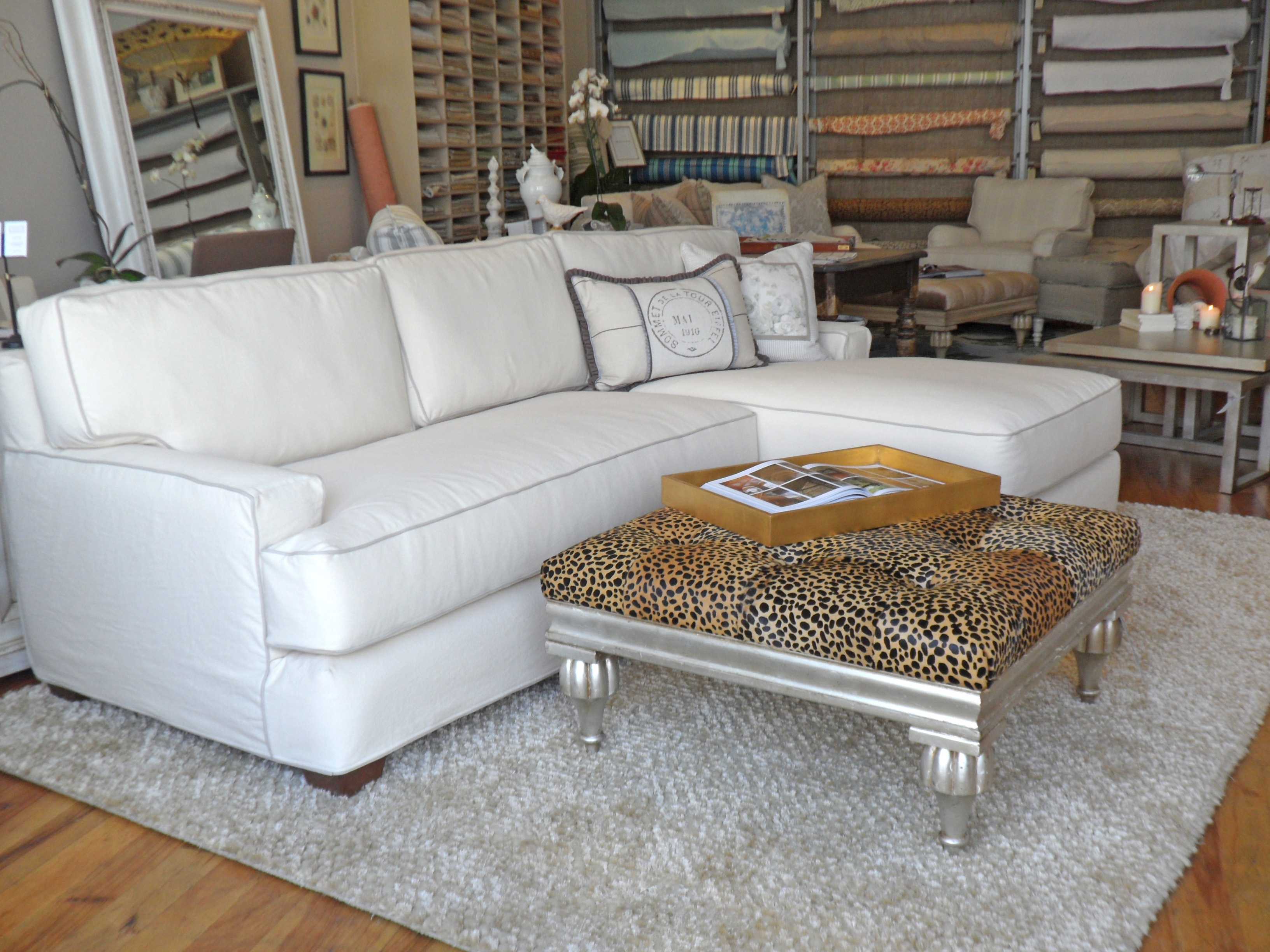 Quatrine White Slipcovered New Yorker Chaise Sectional | Sectionals pertaining to Quatrine Sectional Sofas (Image 10 of 10)