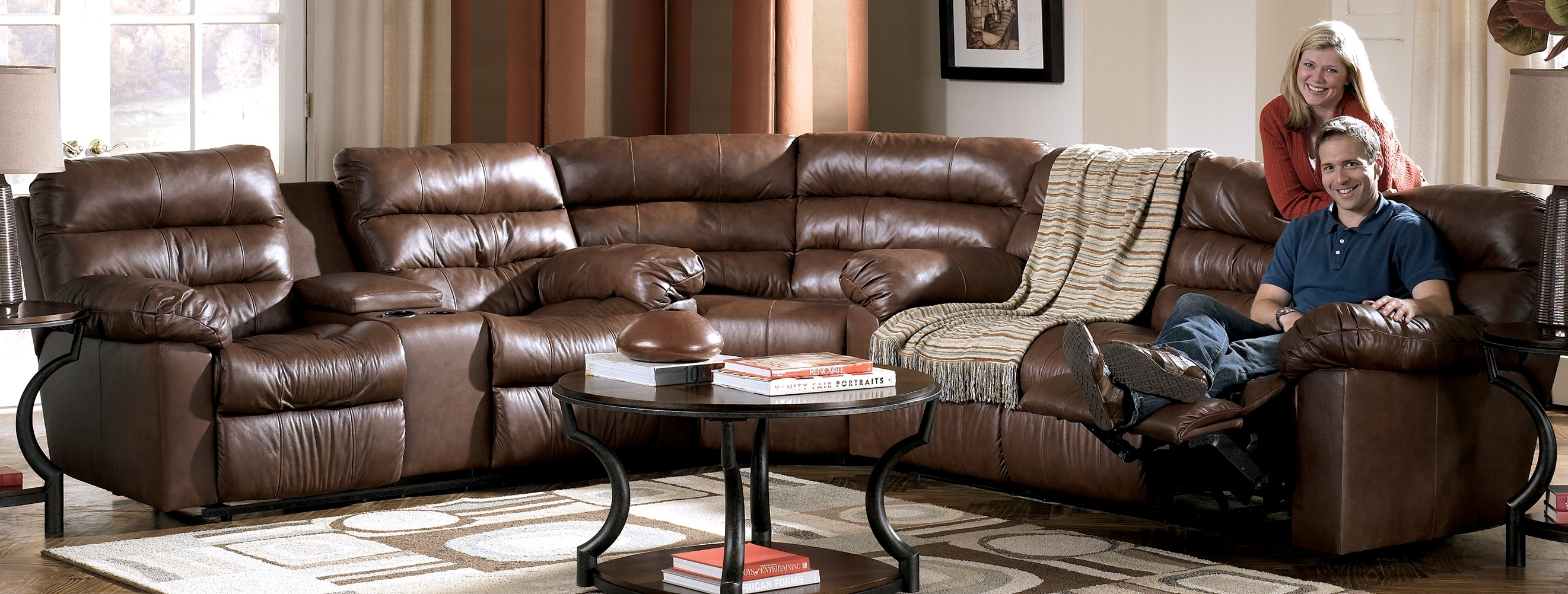 Reclining Leather Sectional Sofa With 4 Recliners And A Console throughout Sectional Sofas With Consoles (Image 5 of 10)