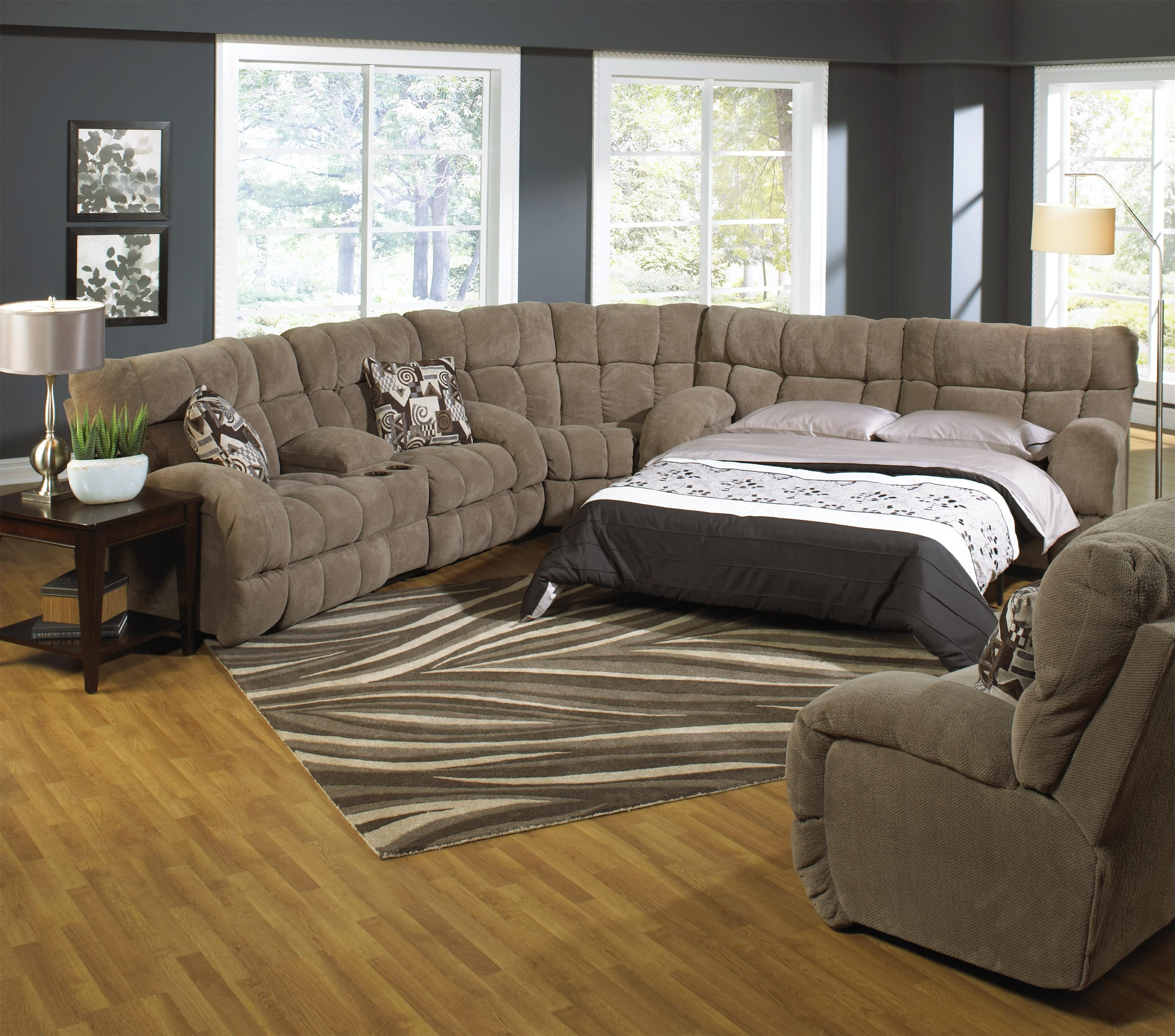 Reclining Sectional Sofa With Sofa Sleepercatnapper | Wolf And regarding Pull Out Beds Sectional Sofas (Image 6 of 10)